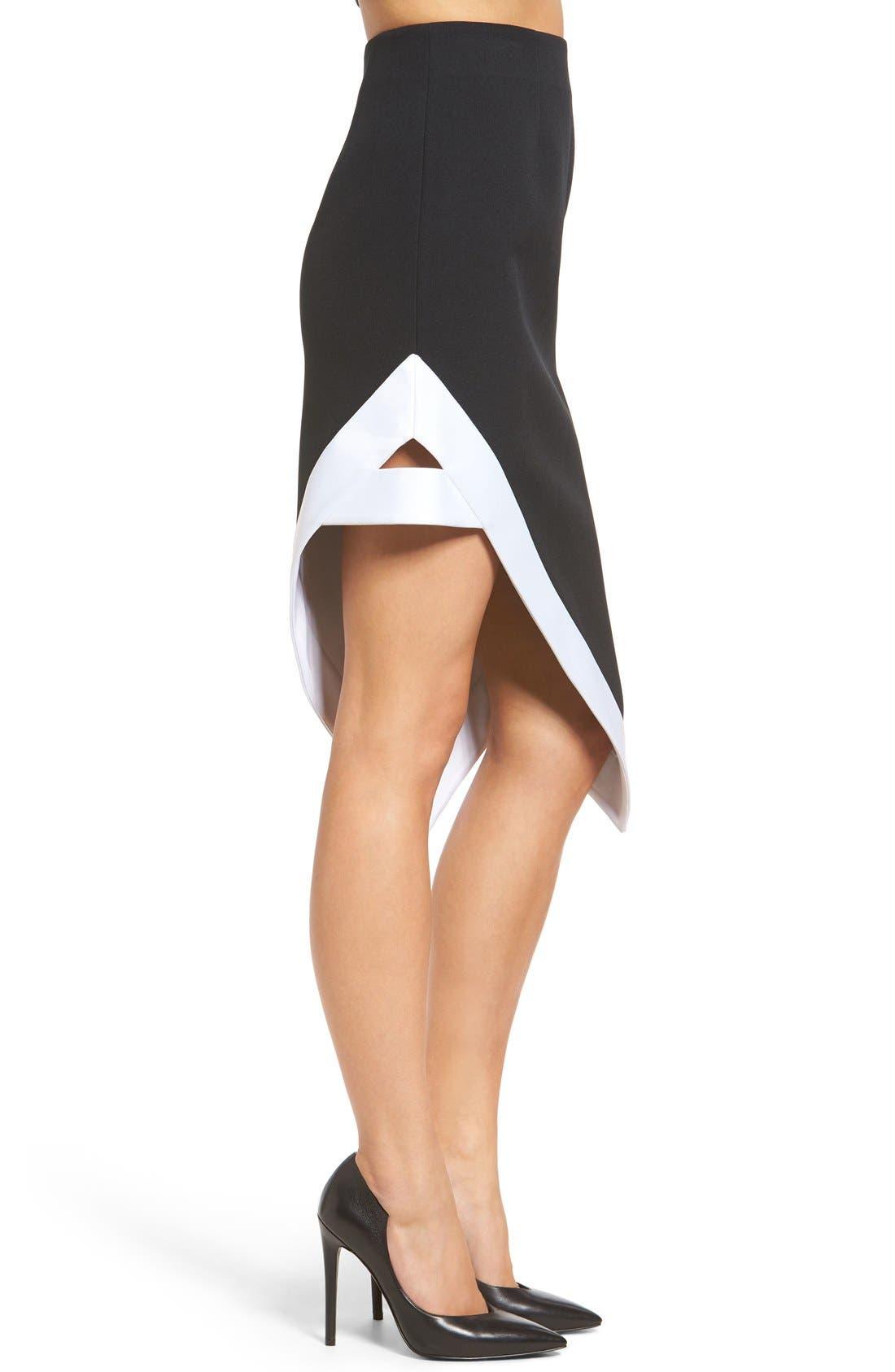 Alternate Image 3  - KENDALL + KYLIE Satin Trim Asymmetrical Skirt
