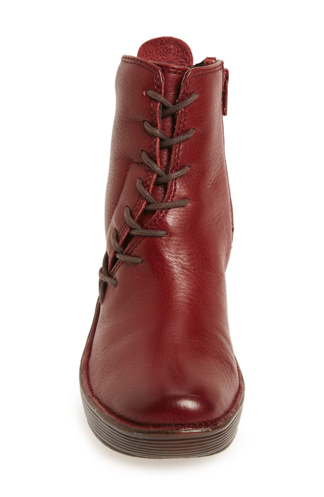 'Corset' Bootie,                             Alternate thumbnail 3, color,                             Russet Red Nubuck Leather