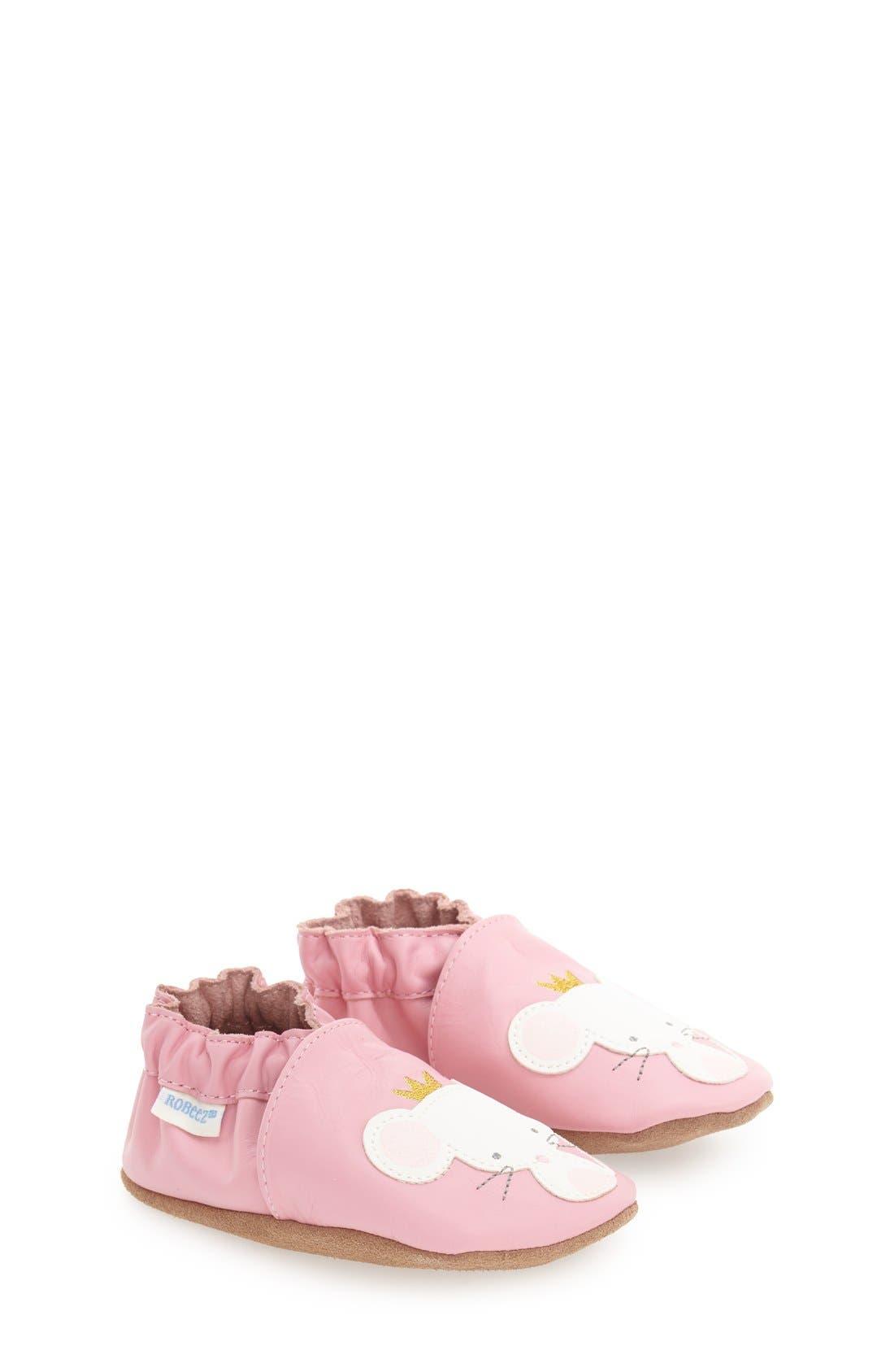 'Princess' Crib Shoe,                             Main thumbnail 1, color,                             Prism Pink Leather