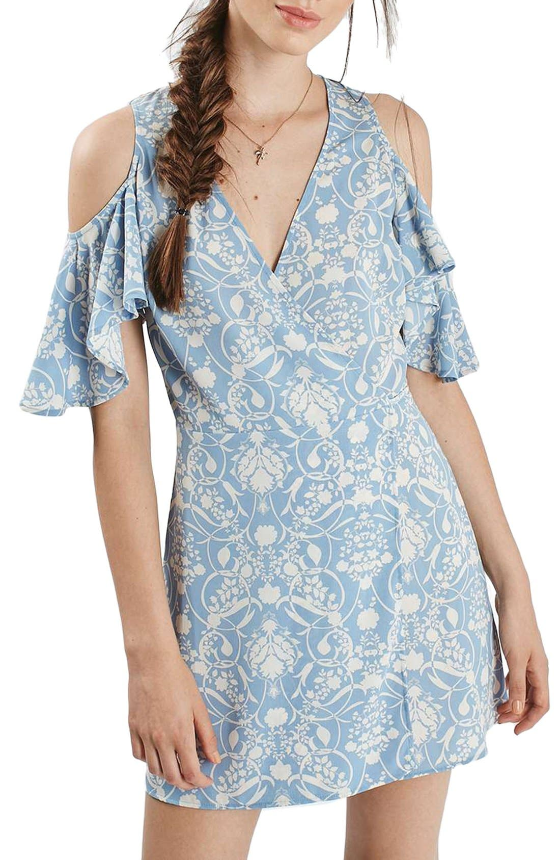 Alternate Image 3  - Topshop Floral Print Cold Shoulder Wrap Dress