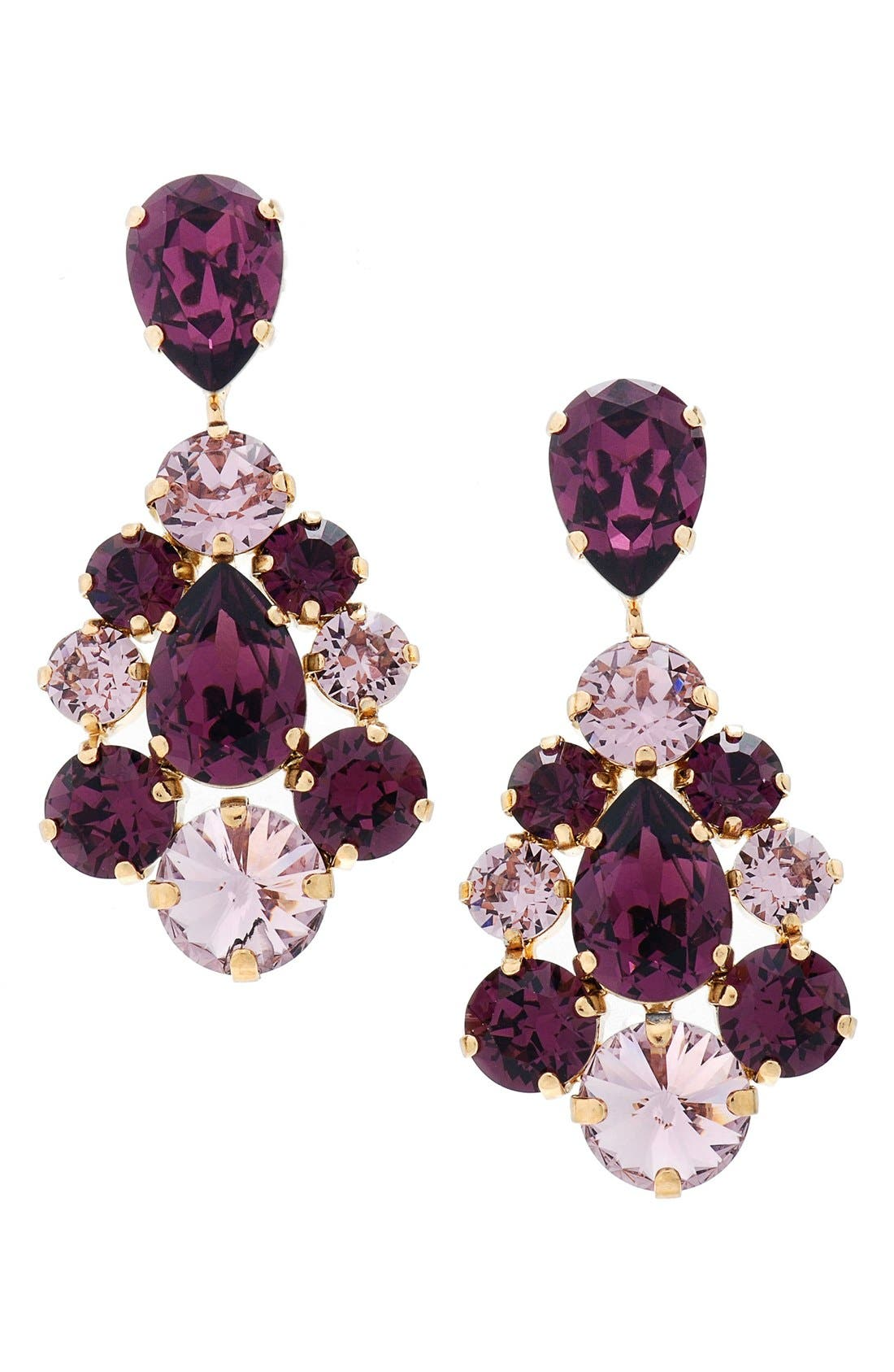 'Flora' Chandelier Earrings,                             Main thumbnail 1, color,                             Amethyst/ Gold
