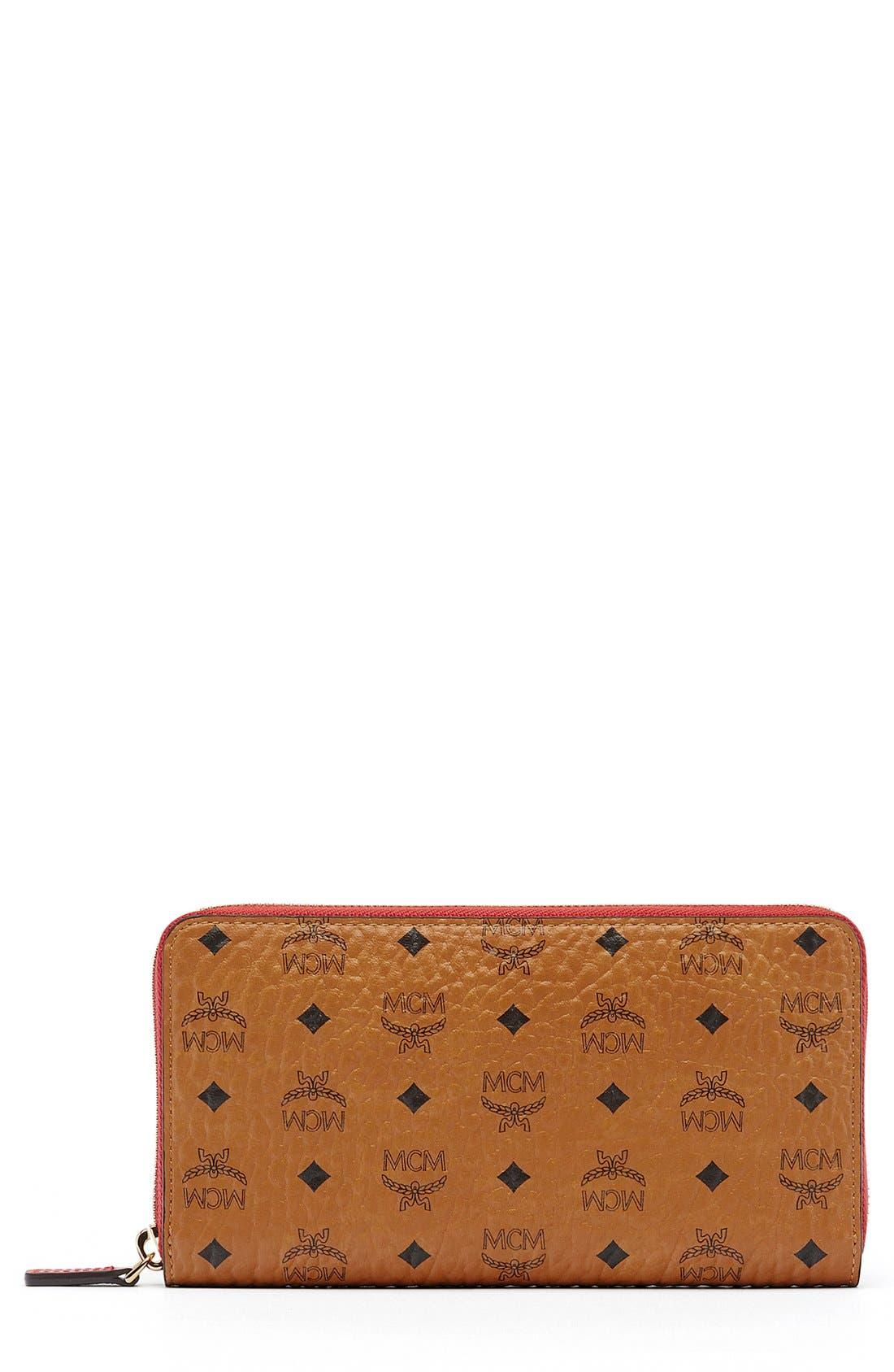 MCM Visetos Coated Canvas Zip Wallet