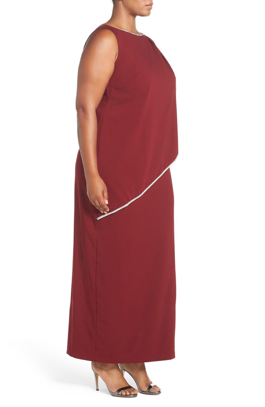 Embellished Overlay Sleeveless Crepe Column Gown,                             Alternate thumbnail 3, color,                             Merlot