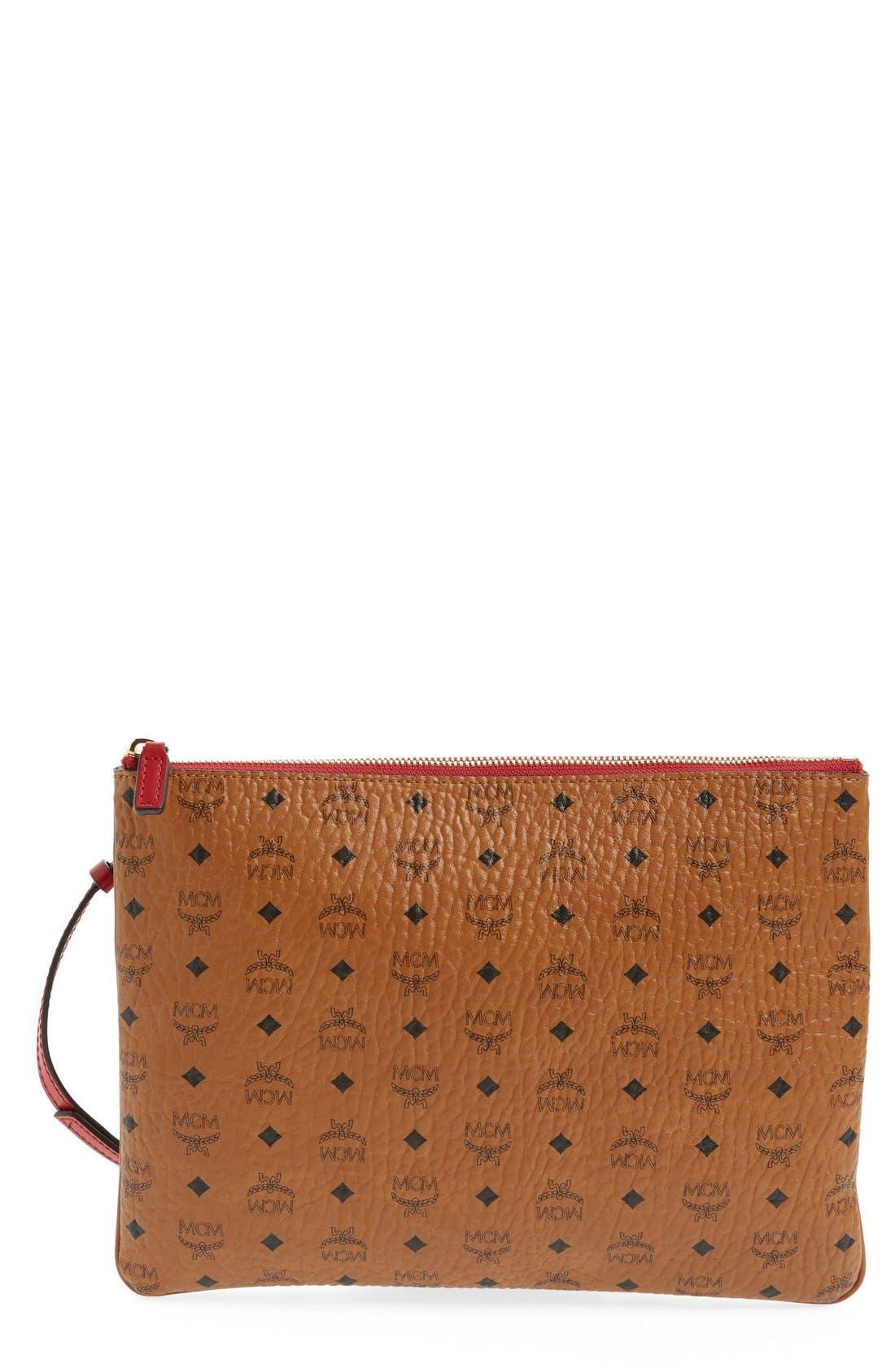 Heritage Convertible Coated Canvas Zip Pouch,                             Main thumbnail 1, color,                             Cognac