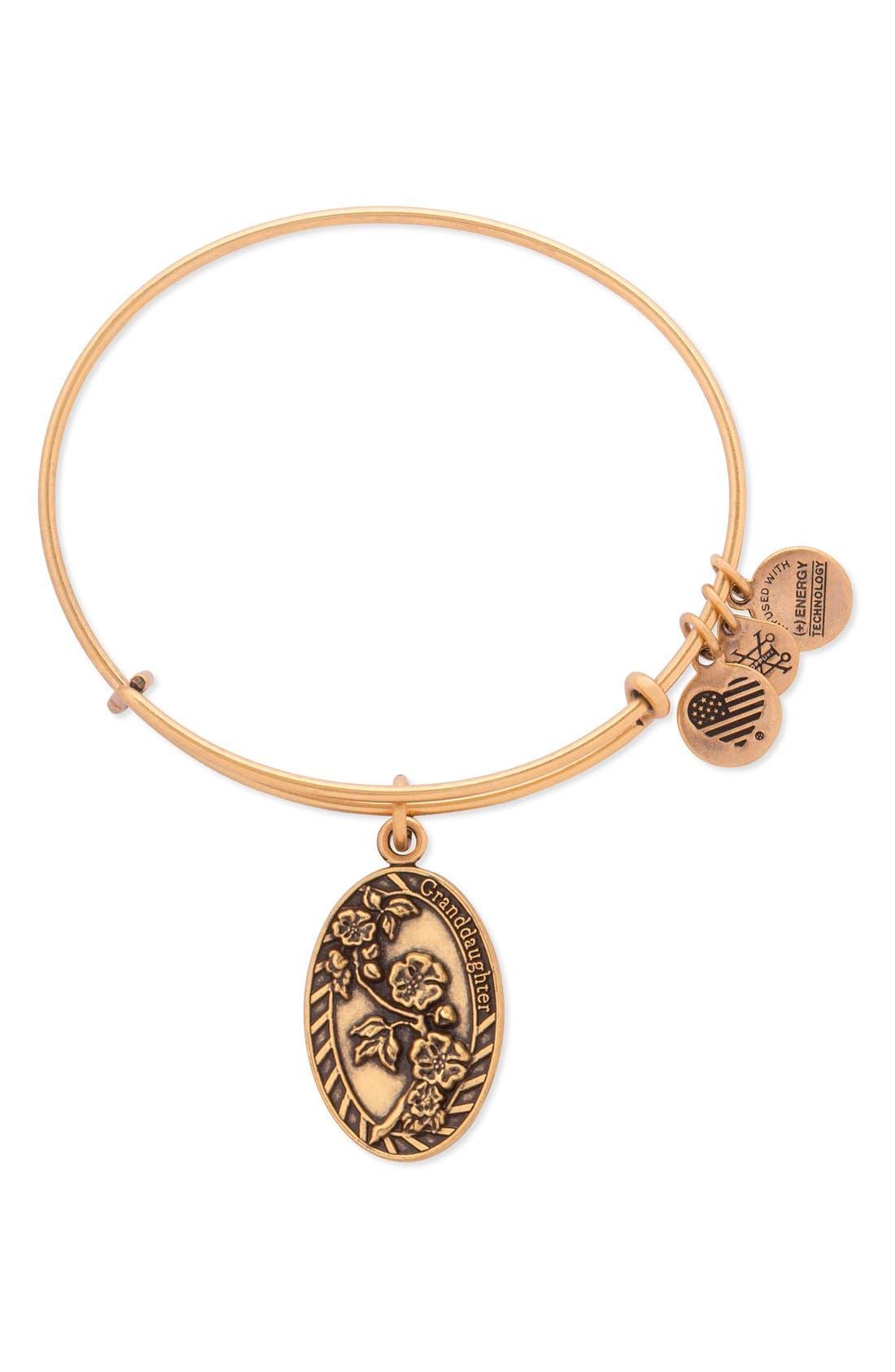 'Granddaughter' Adjustable Wire Bangle,                         Main,                         color, Rafaelian Gold