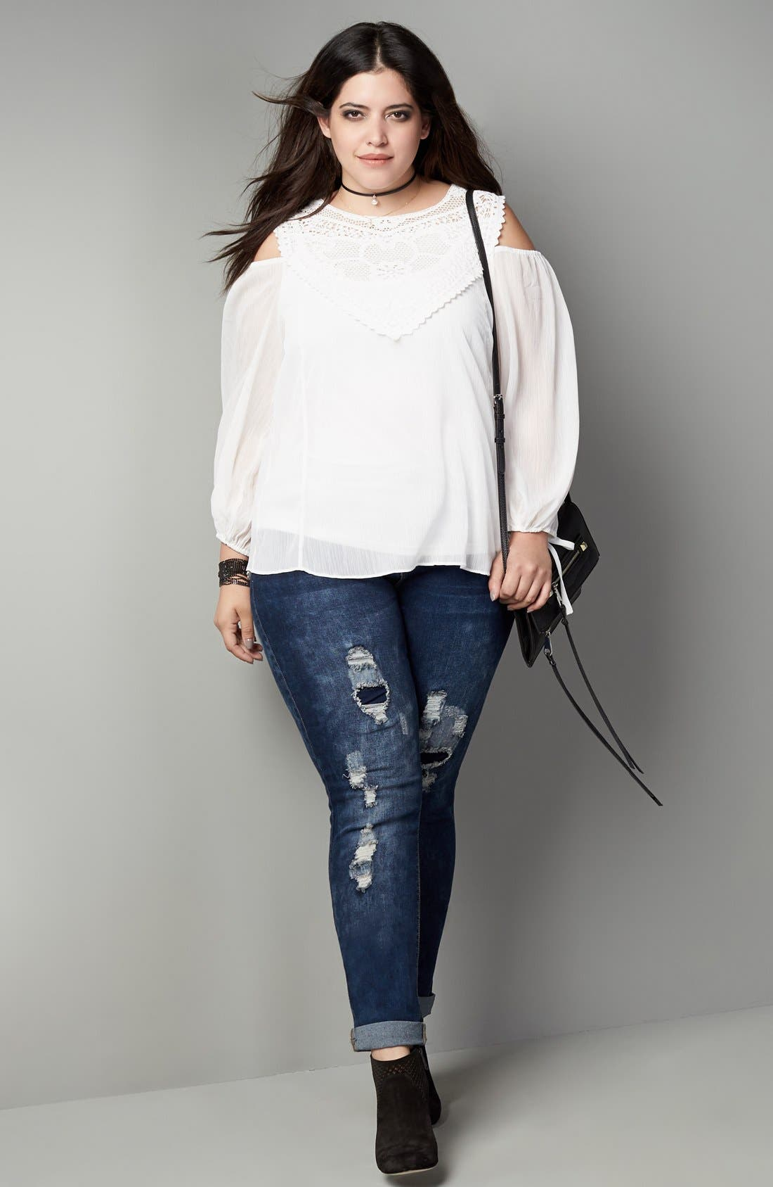 Alternate Image 2  - City Chic 'Dismantle' Ripped Stretch Skinny Jeans (Plus Size)
