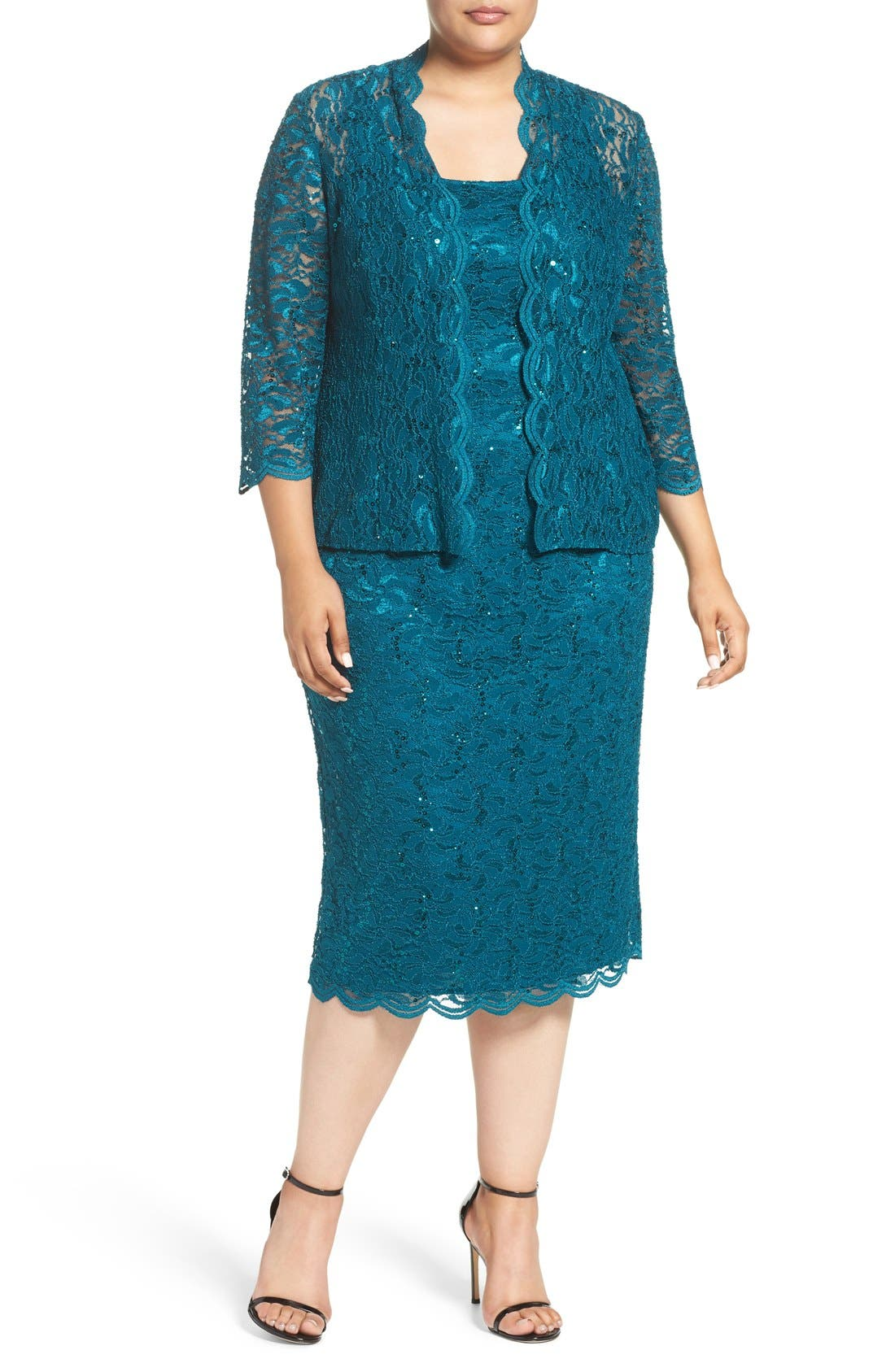 Lace Dress & Jacket,                             Main thumbnail 1, color,                             Deep Teal