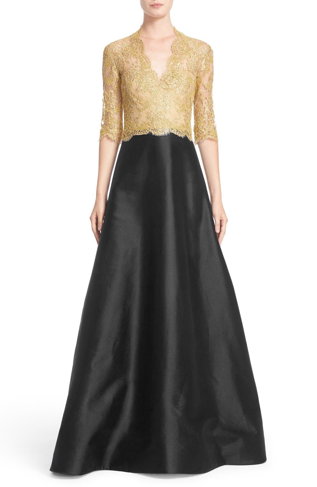 Reem Acra Two-Tone Lace & Twill A-Line Gown