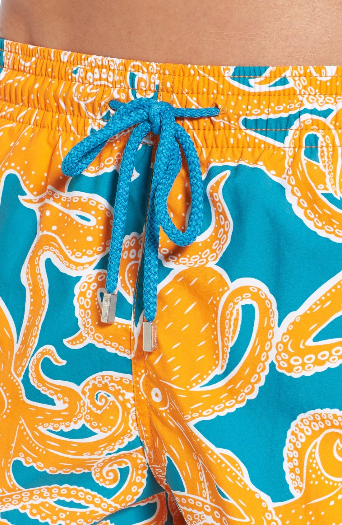 Octopus Print Swim Trunks,                             Alternate thumbnail 4, color,                             Kumquat