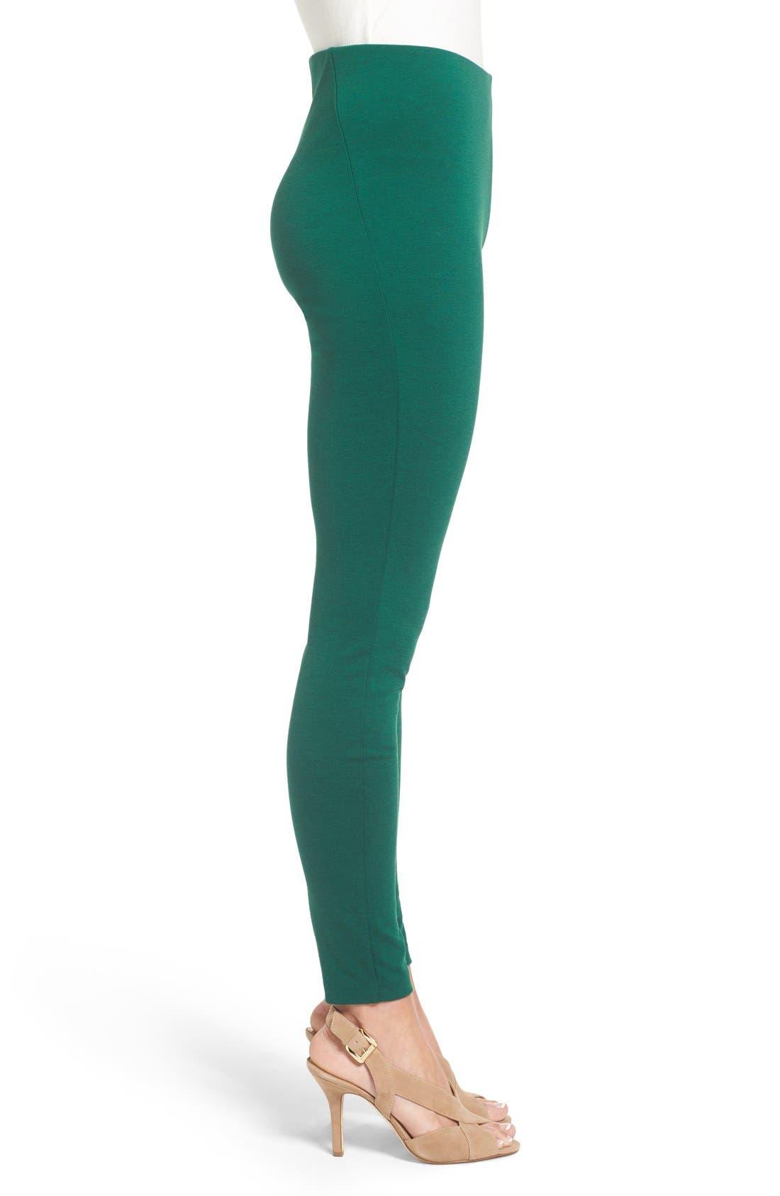 Ponte Knit Leggings,                             Alternate thumbnail 3, color,                             Deep Emerald