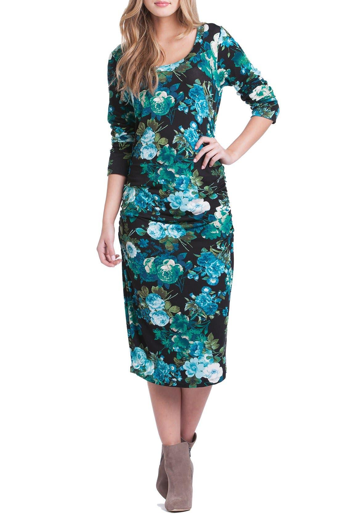 Body-Con Maternity Dress,                         Main,                         color, Blue Floral