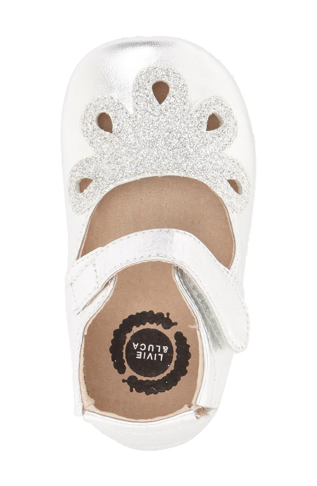 'Petal' Mary Jane Crib Shoe,                             Alternate thumbnail 3, color,                             Platinum