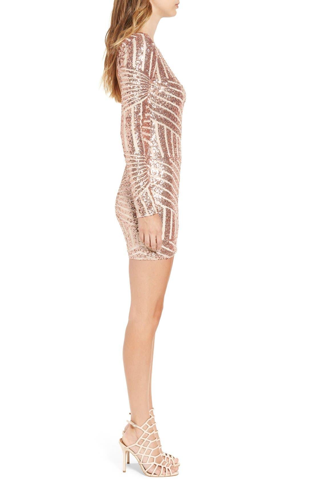 Alternate Image 4  - Bee Darlin Long Sleeve Sequin Body-Con Dress