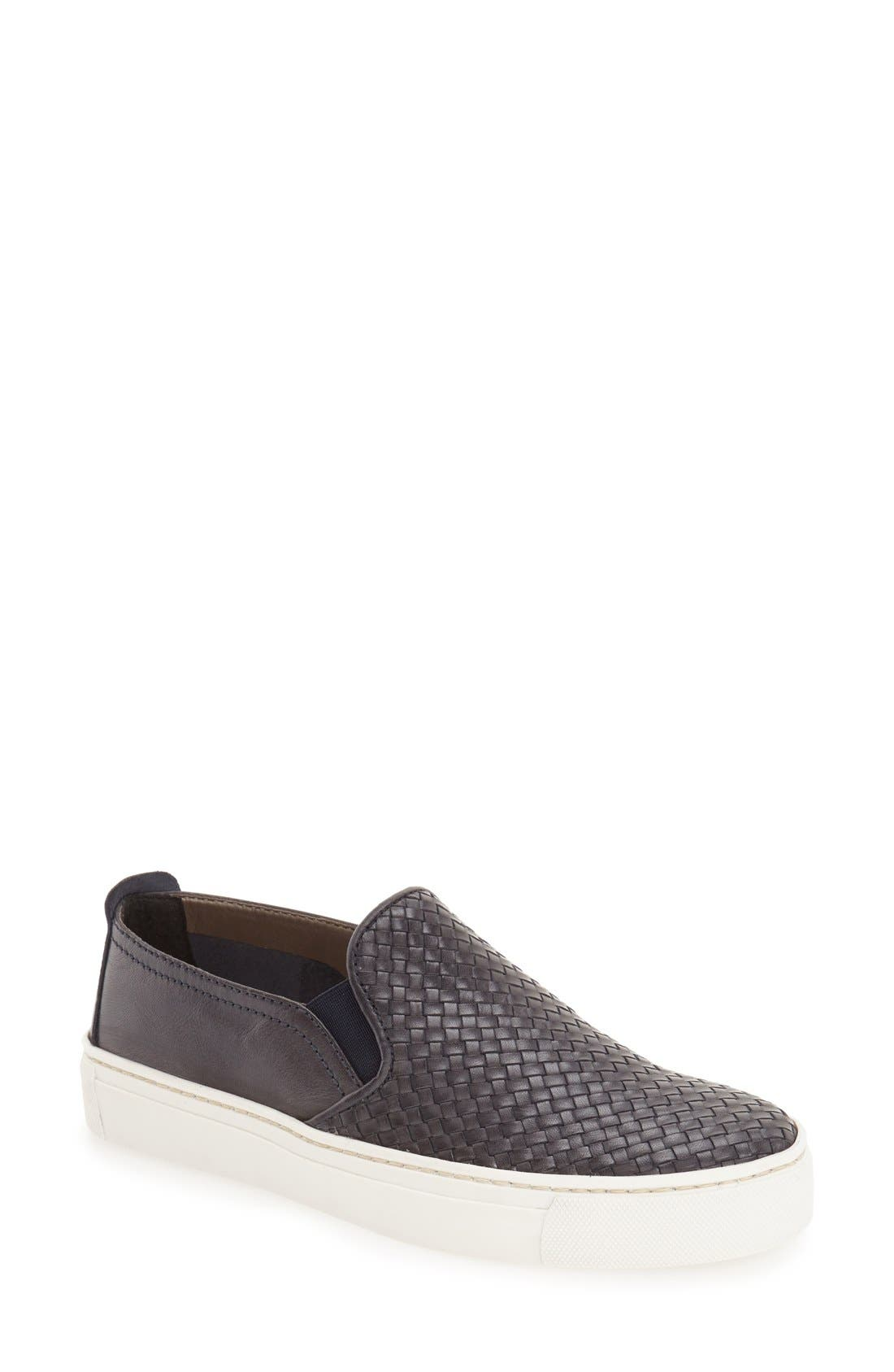 'Sneak Name' Sneaker,                             Main thumbnail 1, color,                             Navy Leather