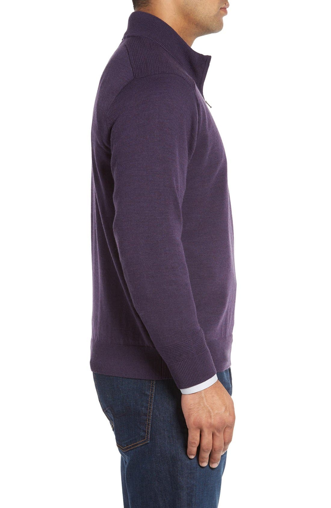 Alternate Image 3  - Cutter & Buck Douglas Quarter Zip Wool Blend Sweater
