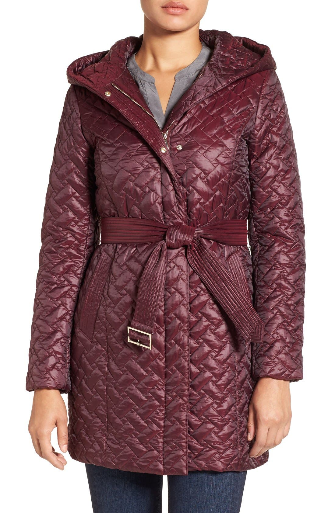 'Thermore' Water Repellent Quilted Coat,                             Main thumbnail 1, color,                             Cabernet