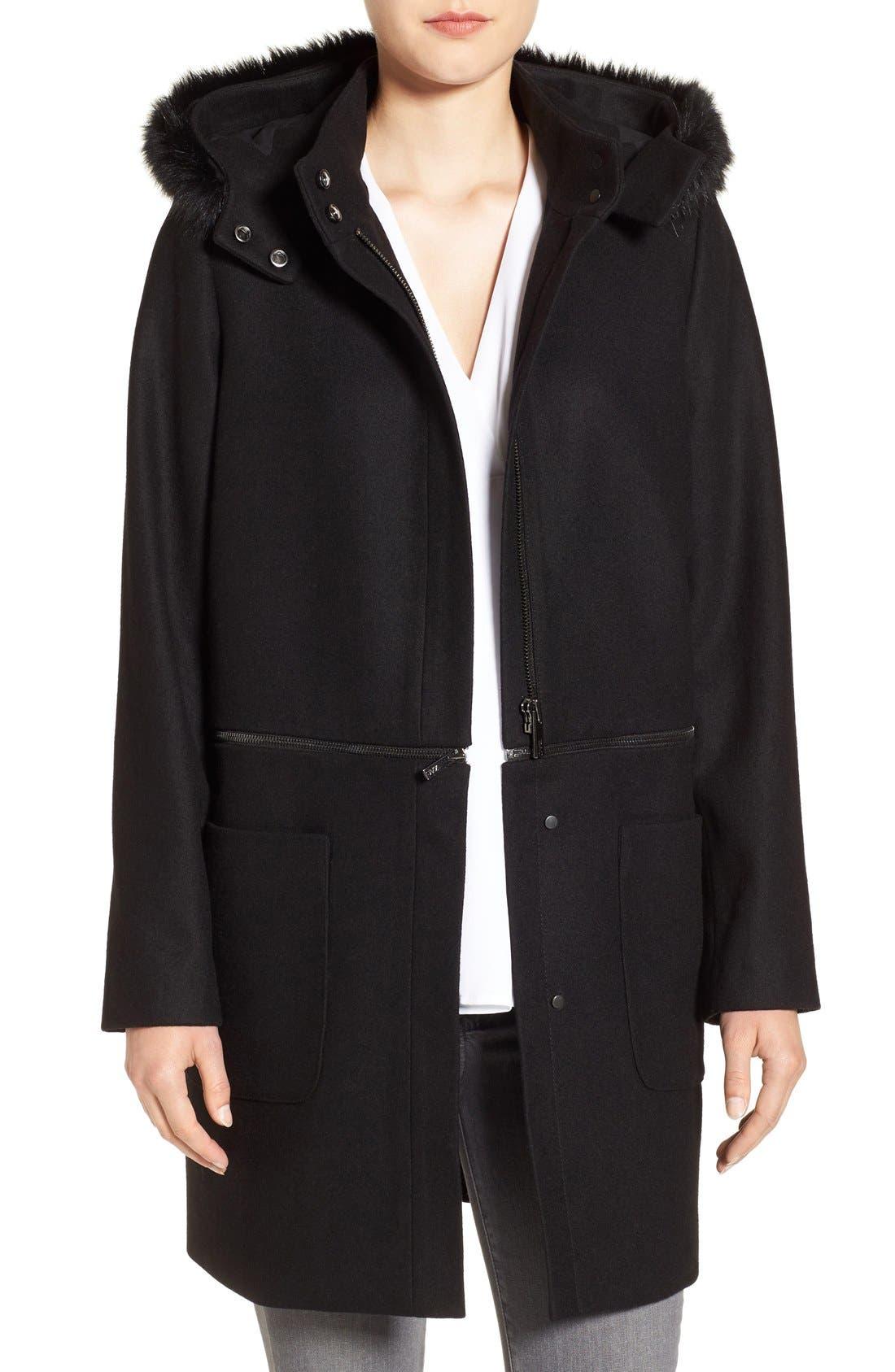 Zac Zac Posen Convertible Faux Fur Trim Wool Blend Coat