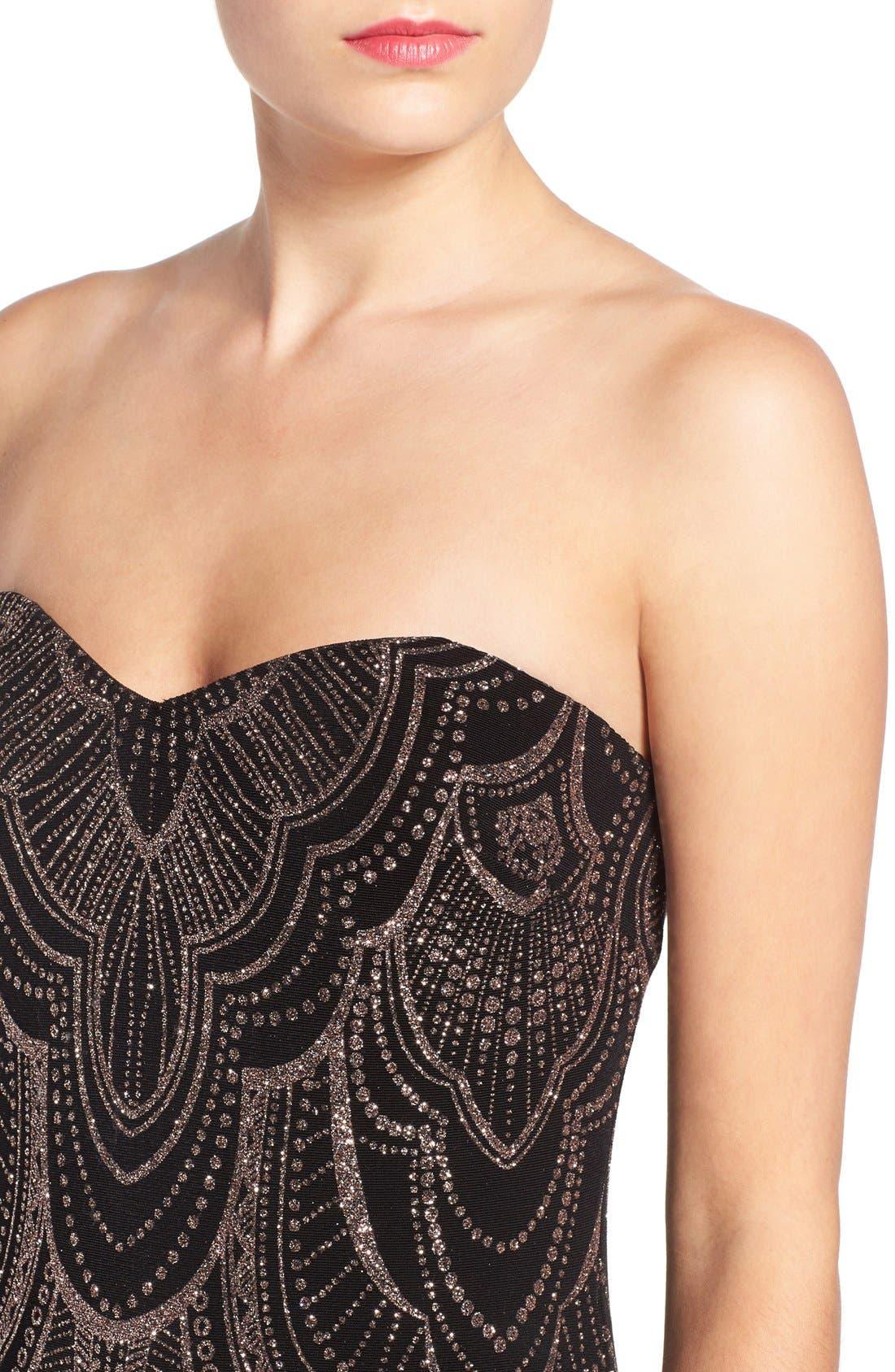 Alternate Image 4  - Jump Apparel Glitter Print Strapless Gown