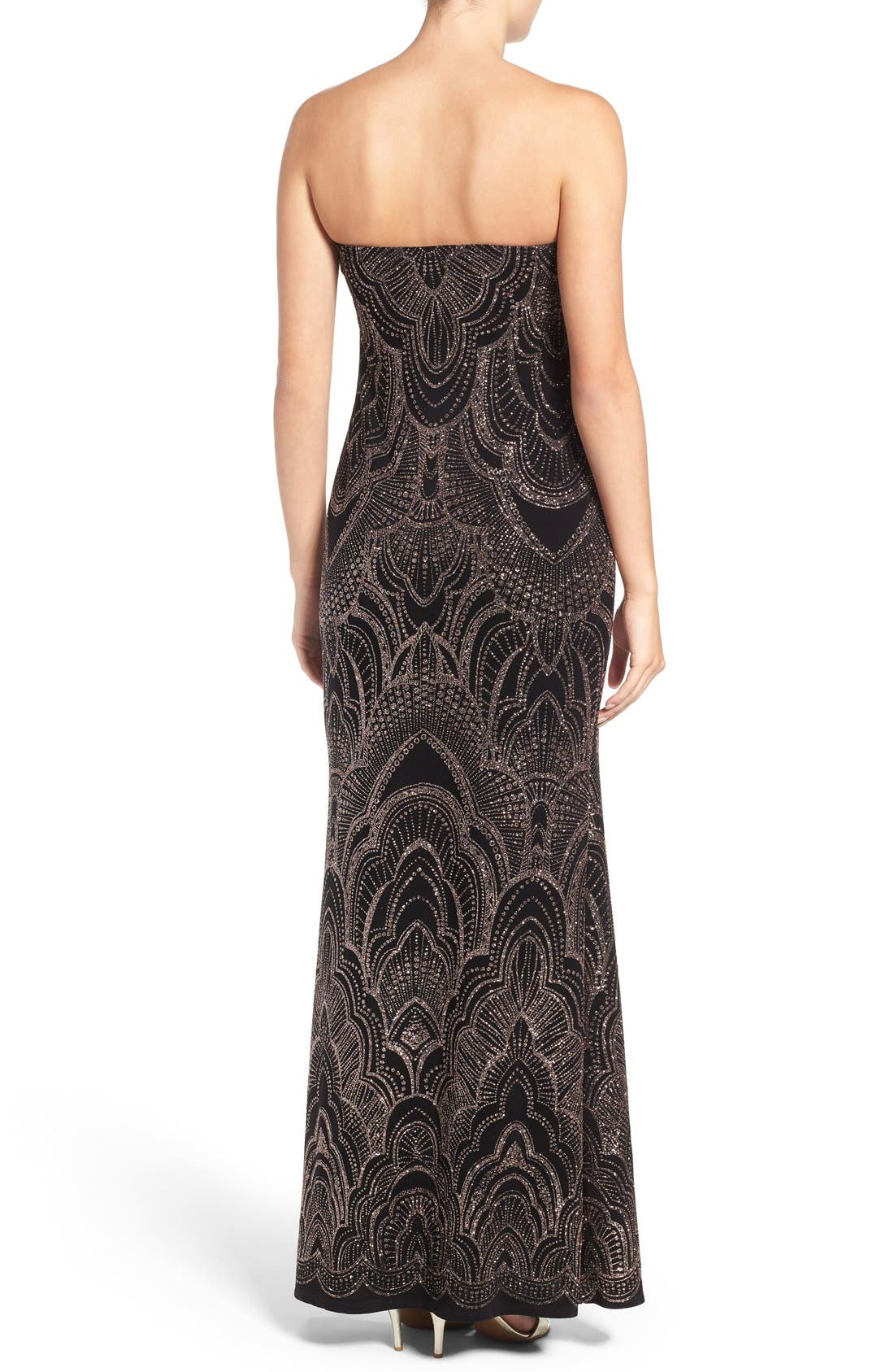 Alternate Image 2  - Jump Apparel Glitter Print Strapless Gown
