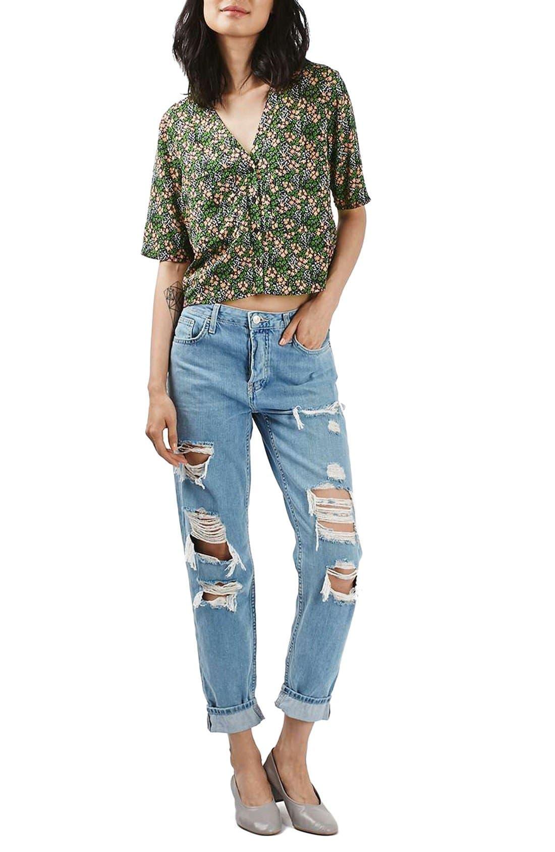 Alternate Image 2  - Topshop 'Holly' Ditsy Floral Print Shirt