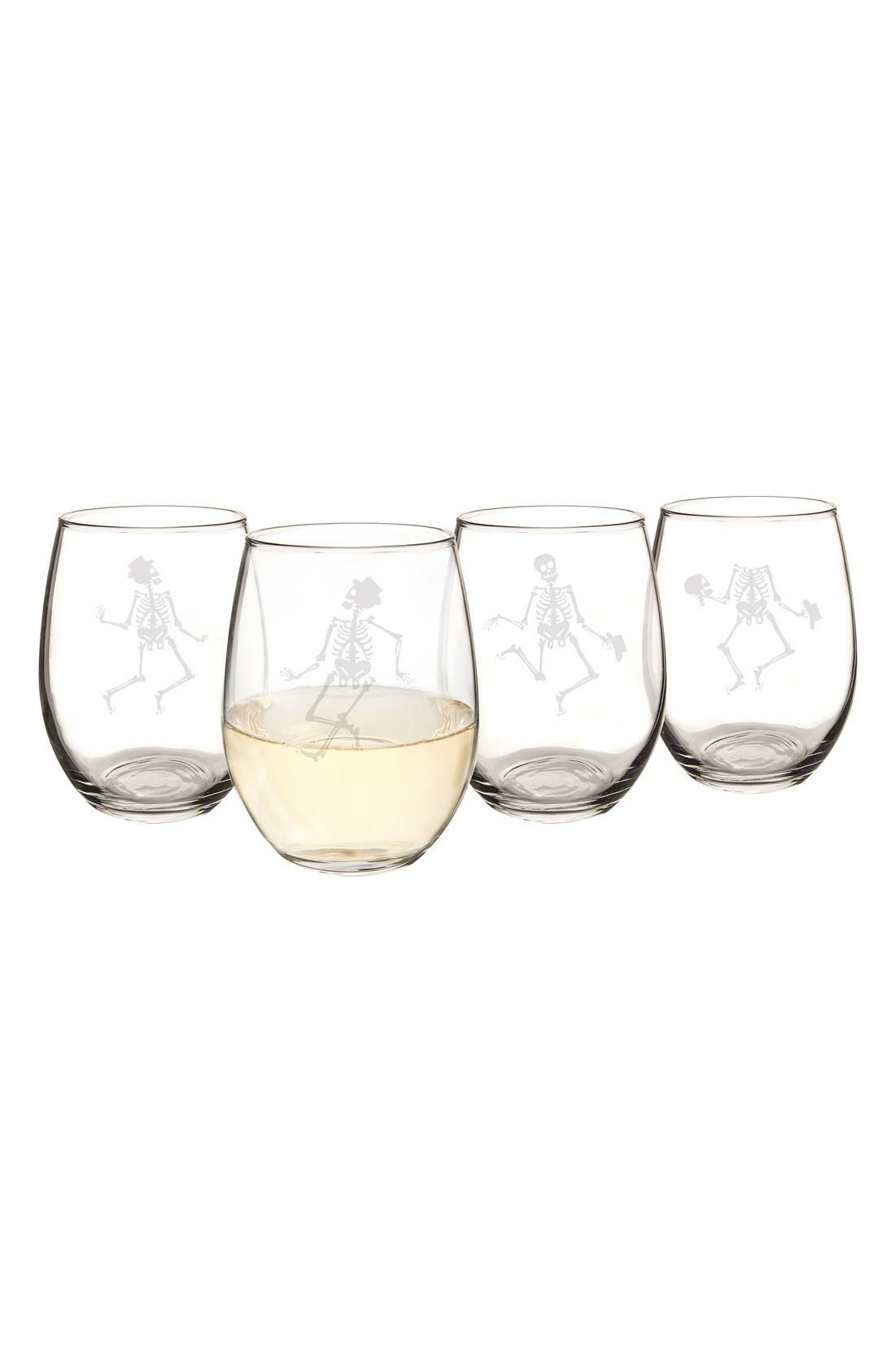 Skeletons Set of 4 Stemless Wine Glasses,                             Alternate thumbnail 3, color,                             Clear