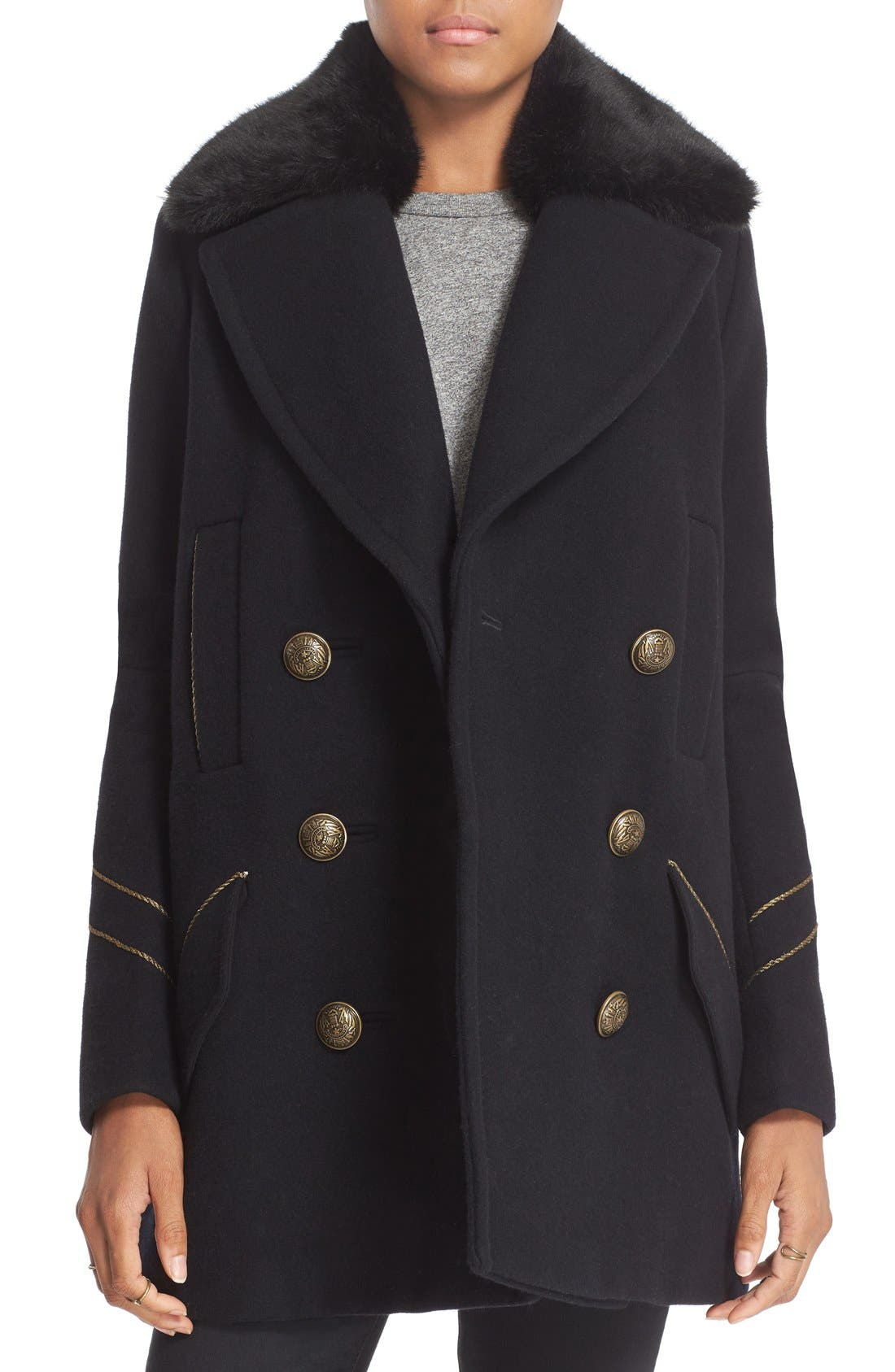 'Sedgwick' Detachable Faux Fur Collar Peacoat,                         Main,                         color, Navy