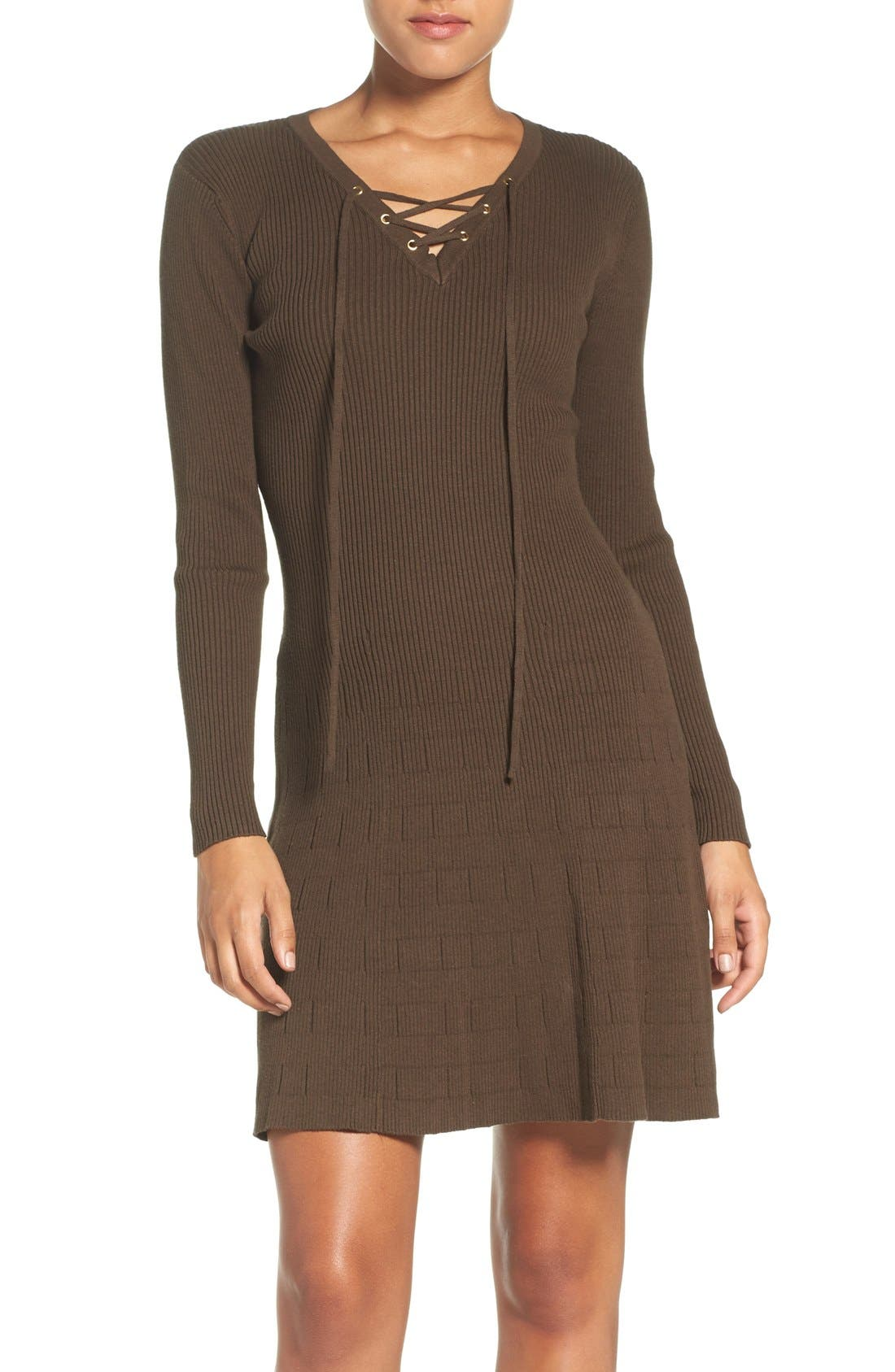 Lace-Up Ribbed A-Line Dress,                             Main thumbnail 1, color,                             Olive