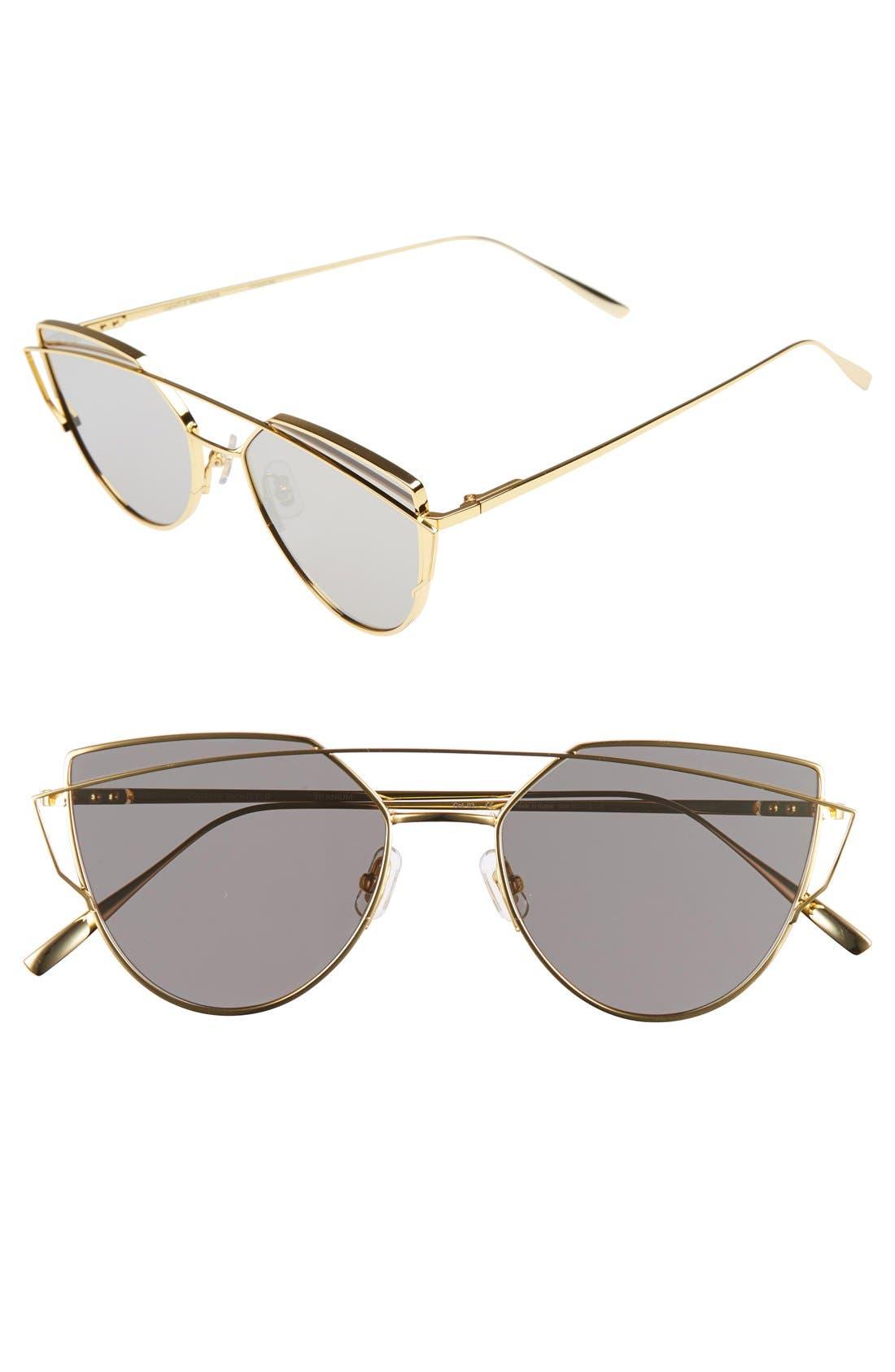 'Love Punch' 55mm Titanium Aviator Sunglasses,                             Main thumbnail 1, color,                             Gold