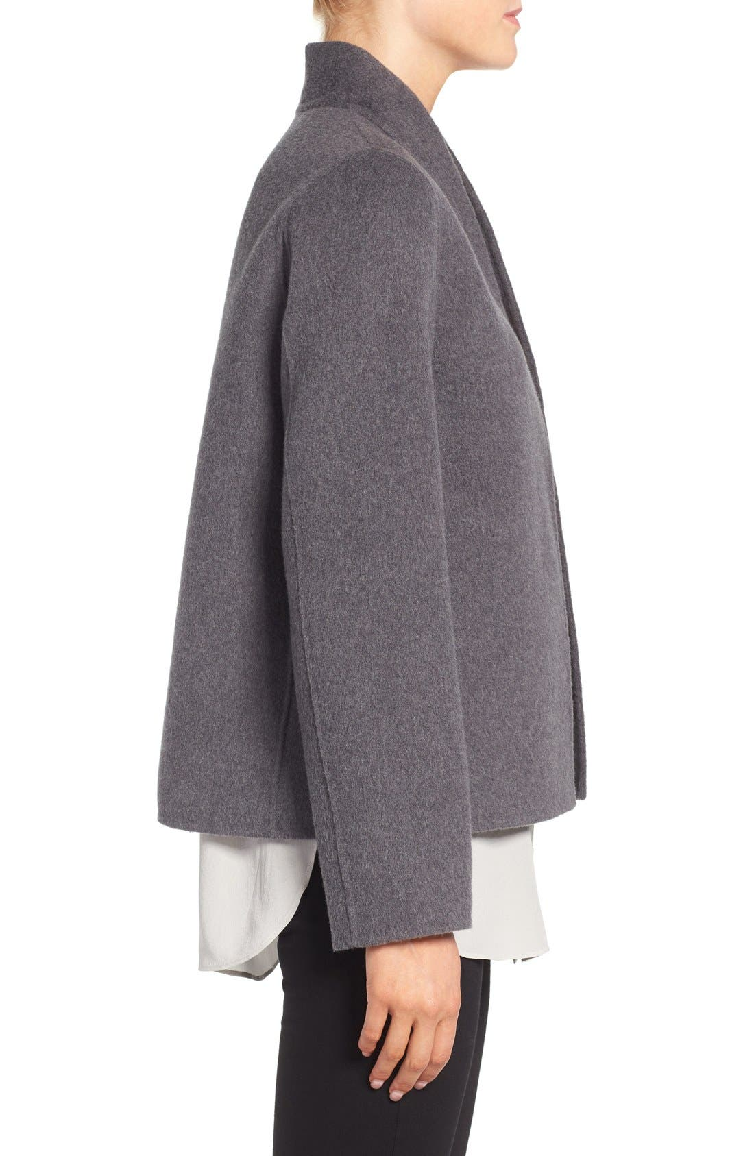 Alternate Image 3  - Eileen Fisher Brushed Wool Blend Double Face High Collar Coat