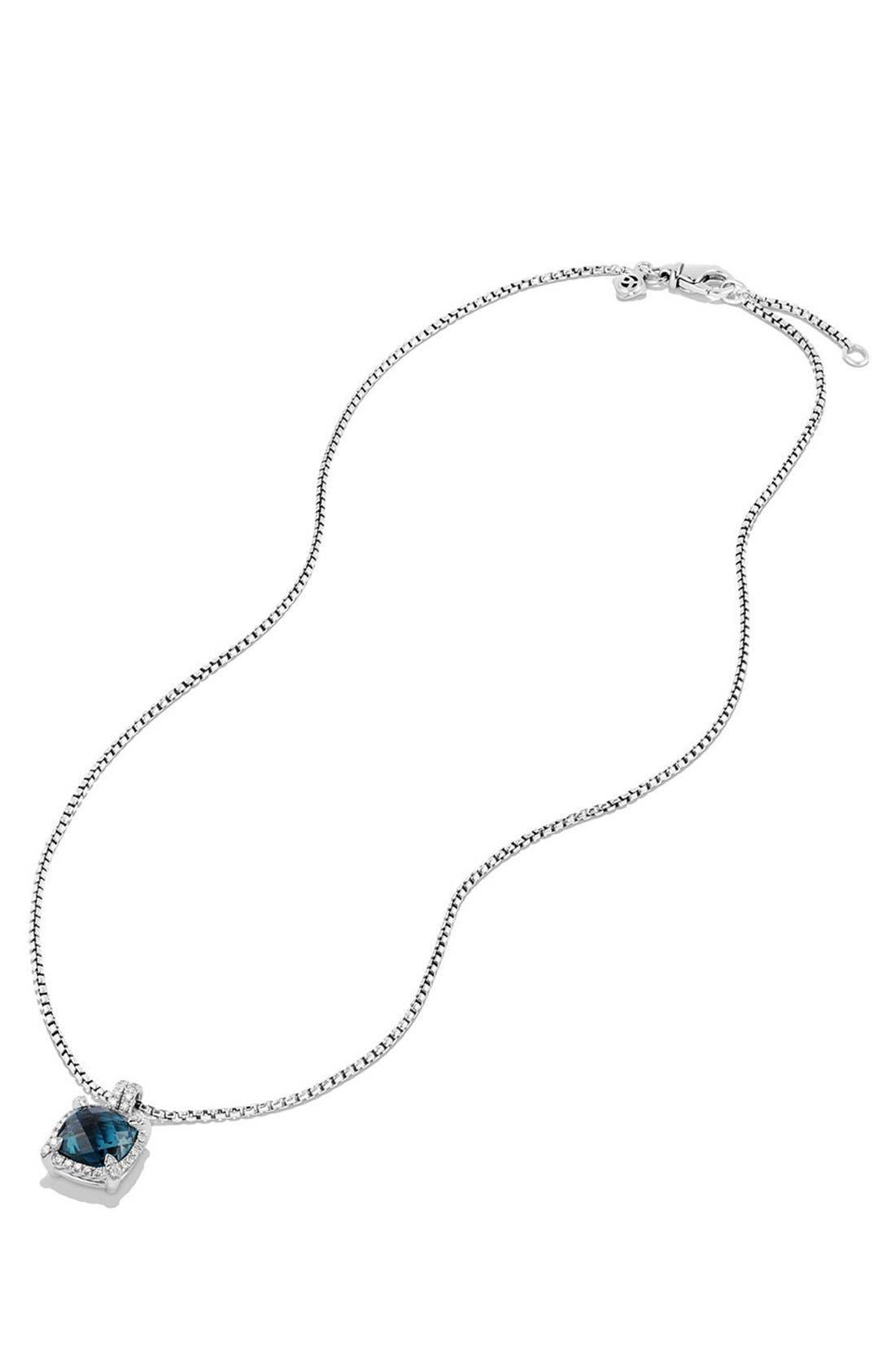 'Châtelaine' Small Pavé Bezel Pendant Necklace with Diamonds,                             Alternate thumbnail 3, color,                             Blue Topaz