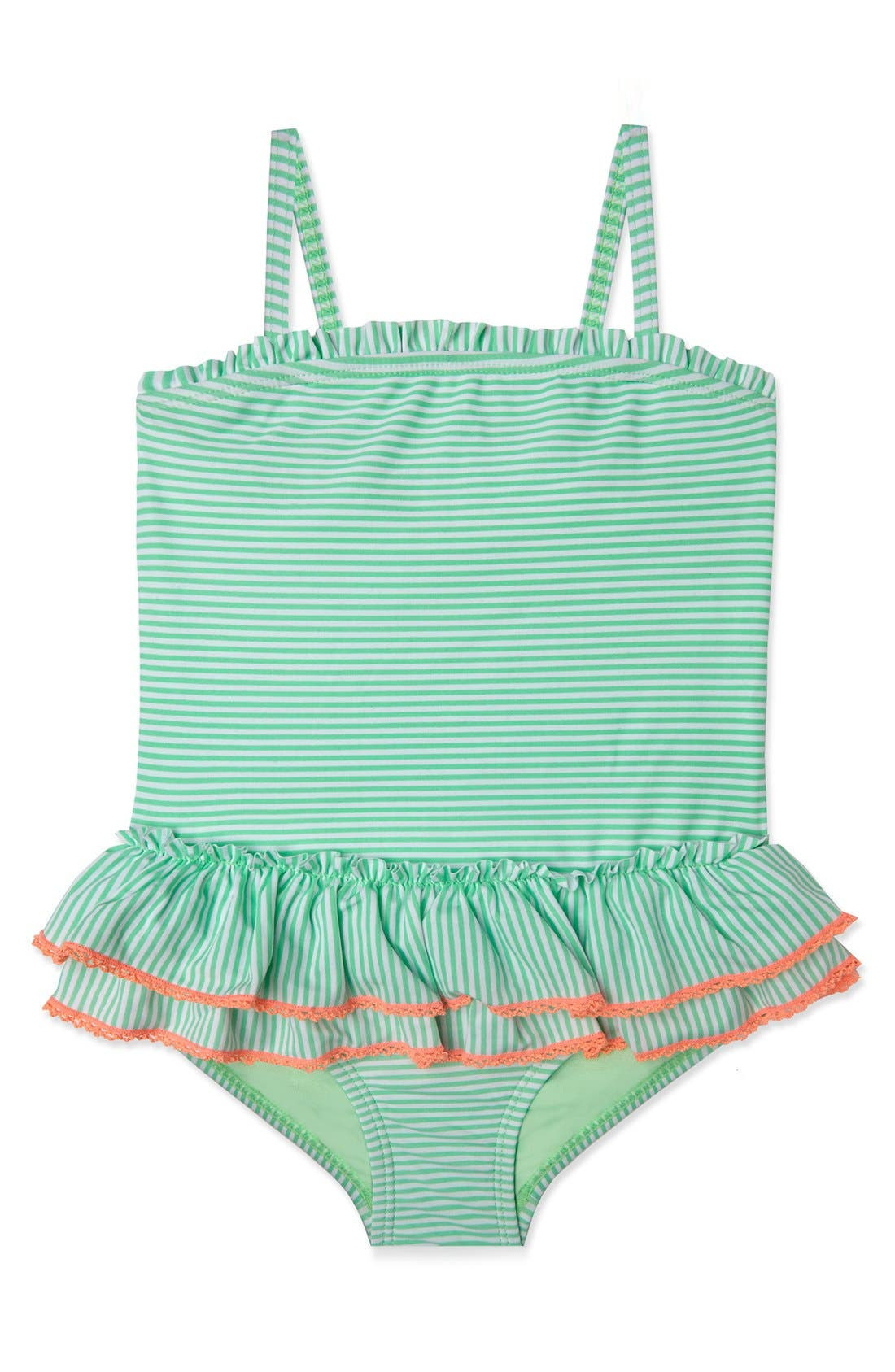 'Sailor Stripe' One-Piece Swimsuit,                         Main,                         color, Mint