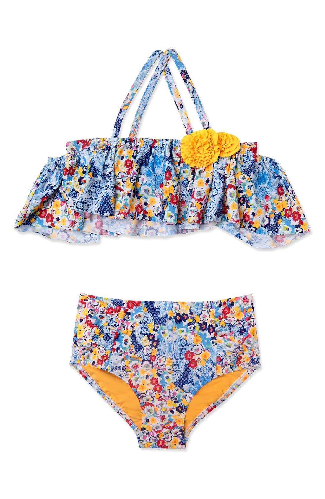 'Heavy Petal' Two-Piece Swimsuit,                         Main,                         color, Navy
