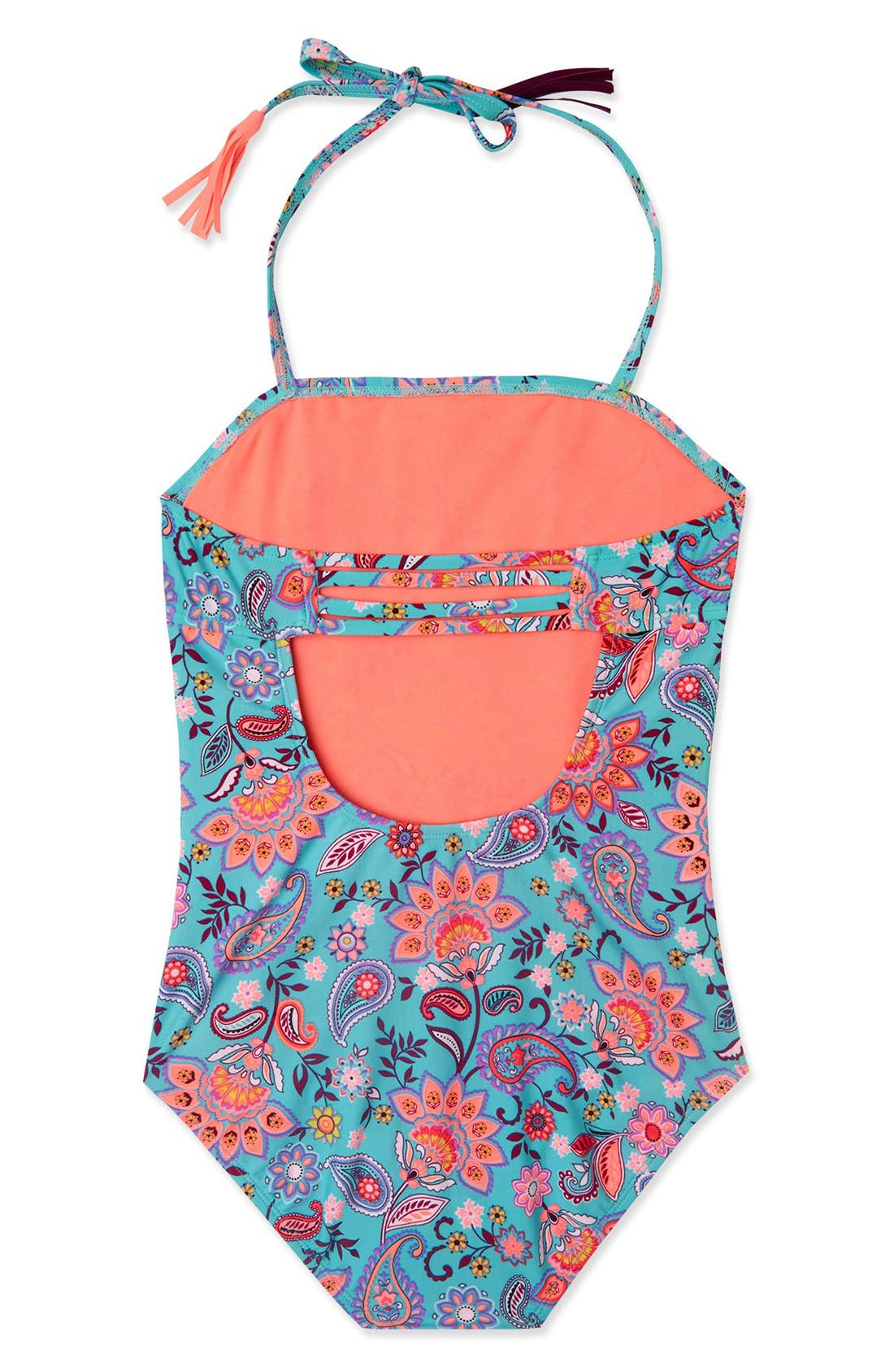 'Le Corsaire' Print One-Piece Swimsuit,                             Alternate thumbnail 3, color,                             Aqua Brown