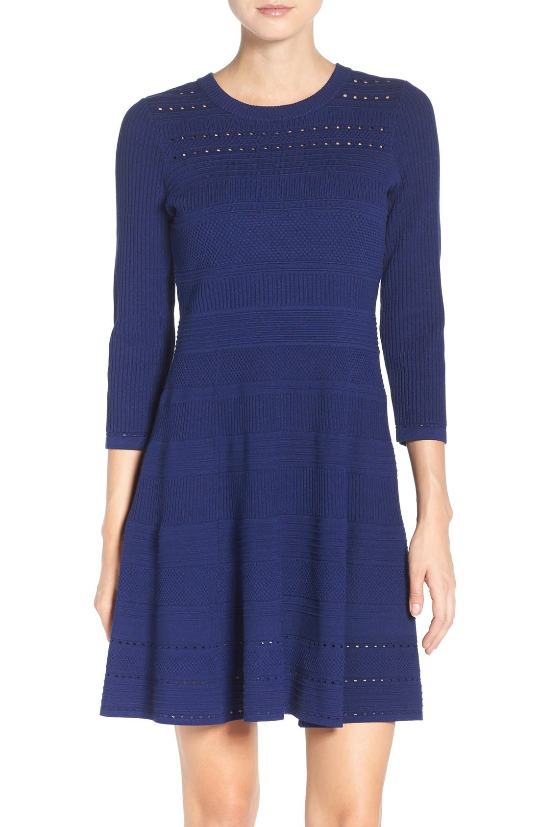 Knit Fit & Flare Dress,                             Main thumbnail 1, color,                             Navy