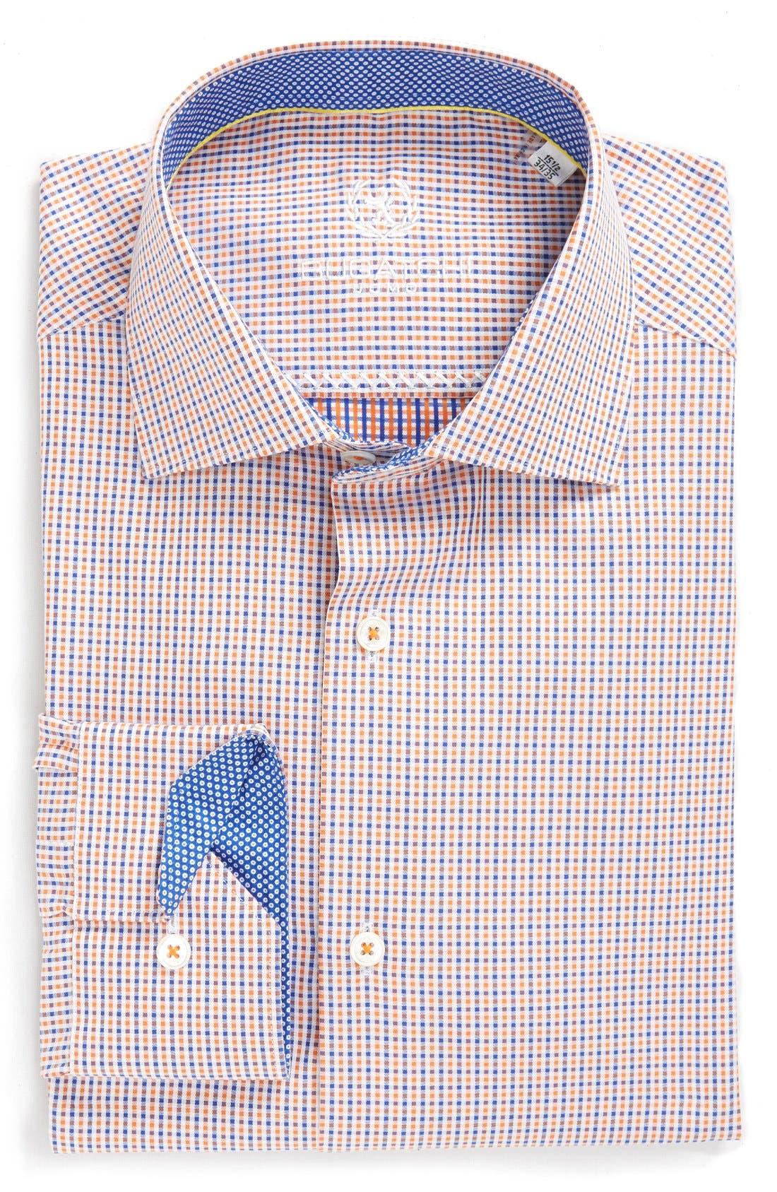 Bugatchi Trim Fit Microcheck Dress Shirt