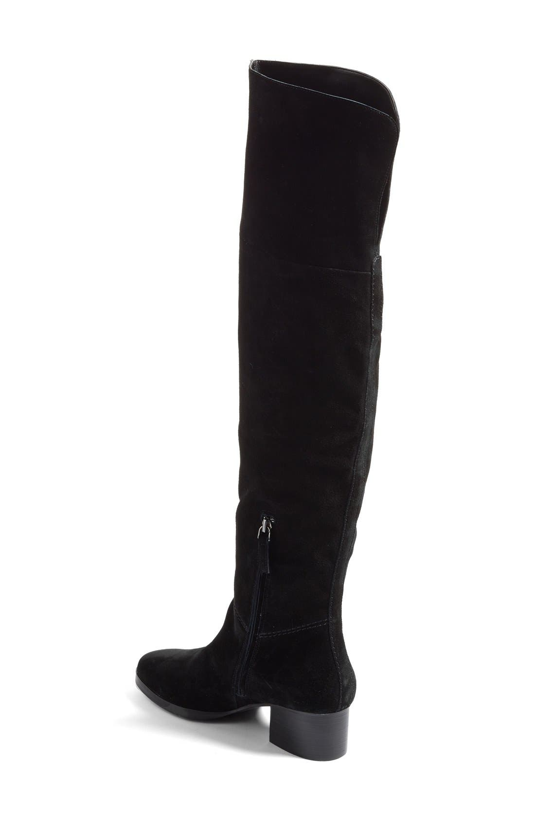Tessie Tall Boot,                             Alternate thumbnail 2, color,                             Black / Black Suede