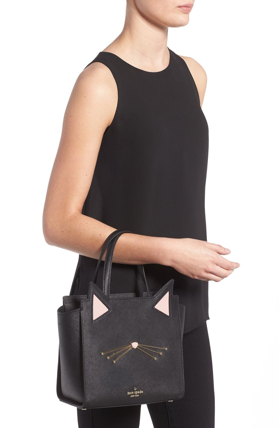 Alternate Image 2  - kate spade new york 'jazz things up cat - small hayden' saffiano leather satchel