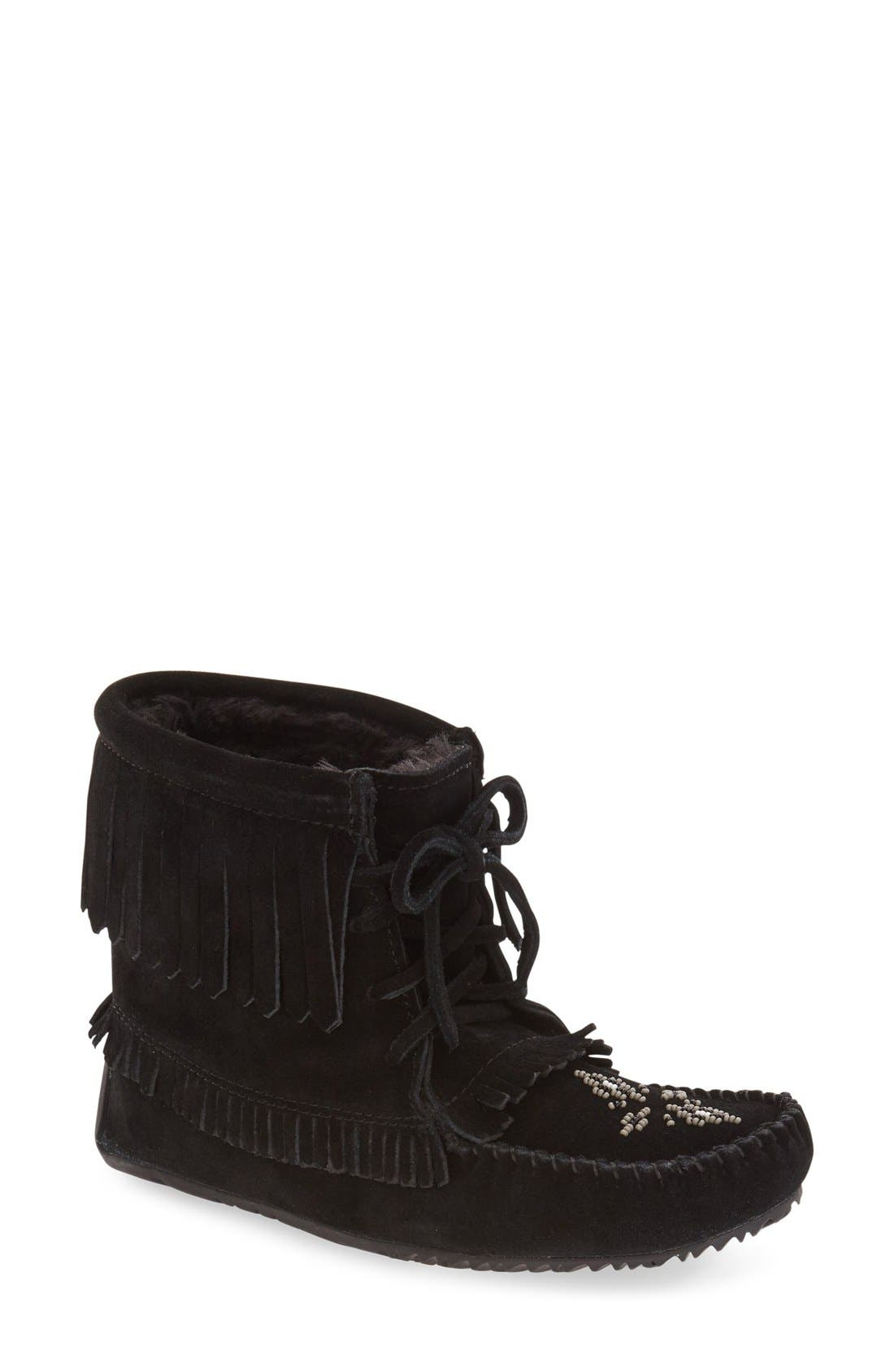 'Harvester' Moccasin,                         Main,                         color, Black Suede