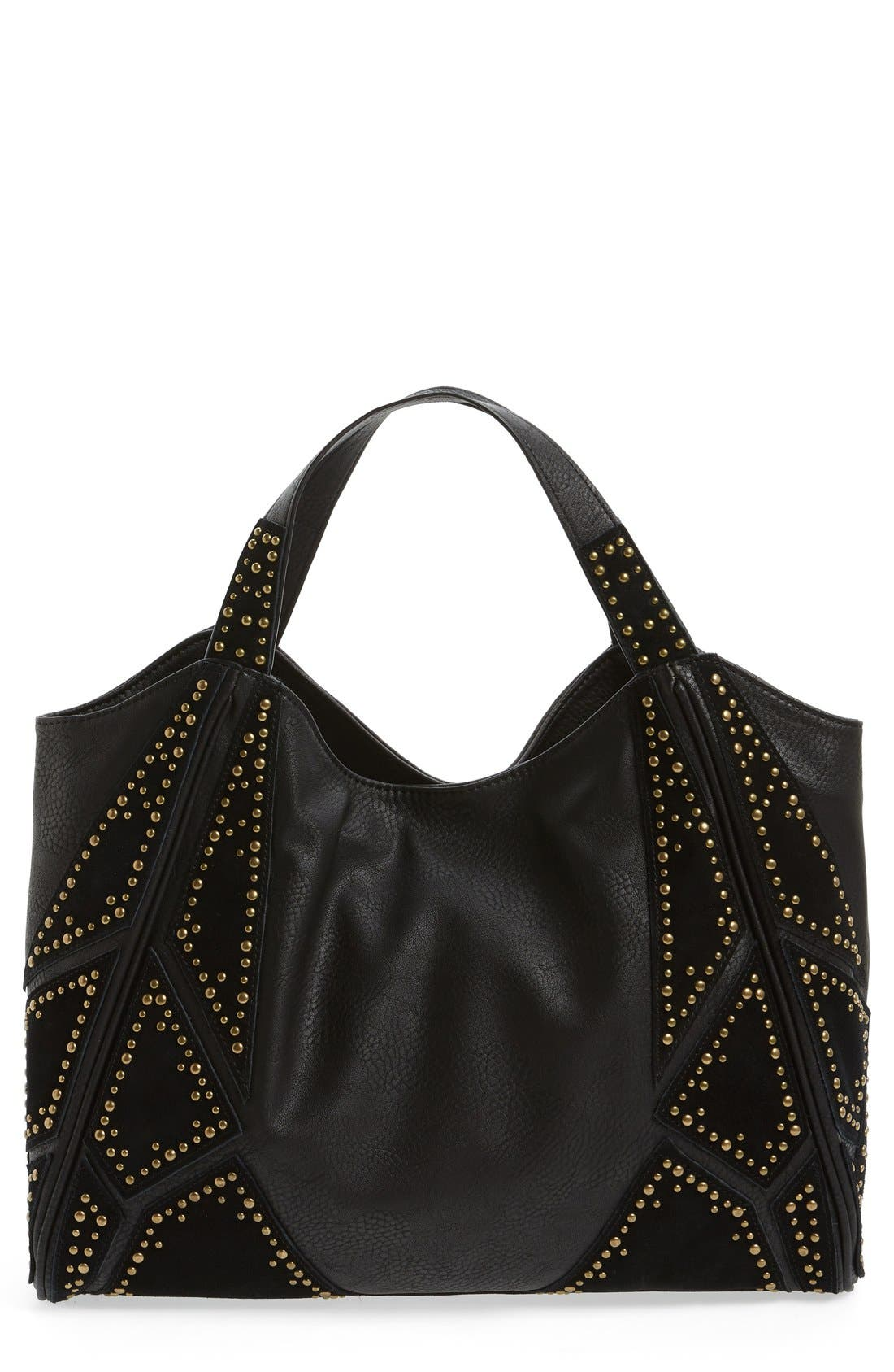 'Jlora' Studded Hobo Bag,                             Main thumbnail 1, color,                             Black