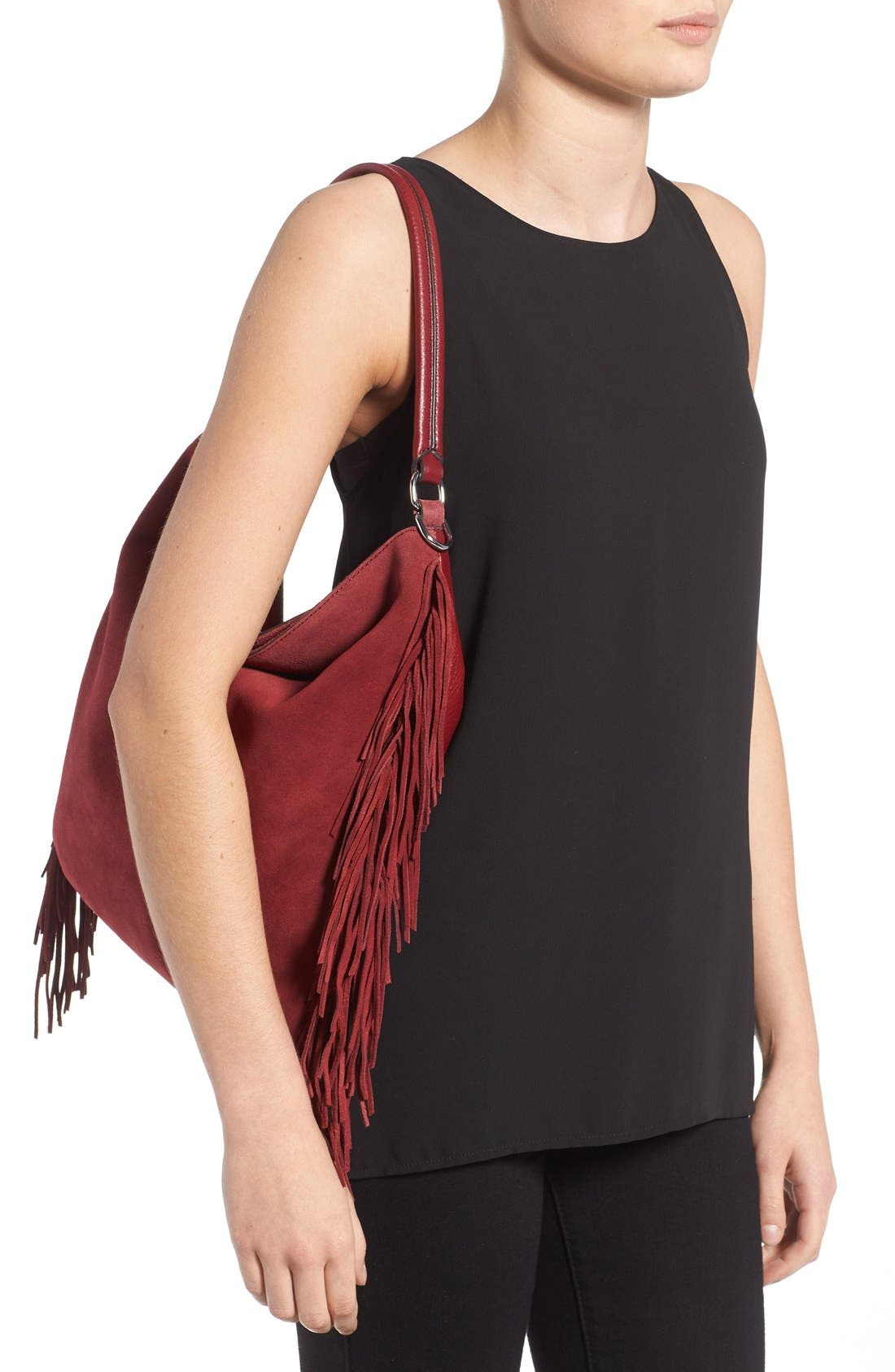 Alternate Image 2  - Rebecca Minkoff Clark Fringe Suede Hobo Bag