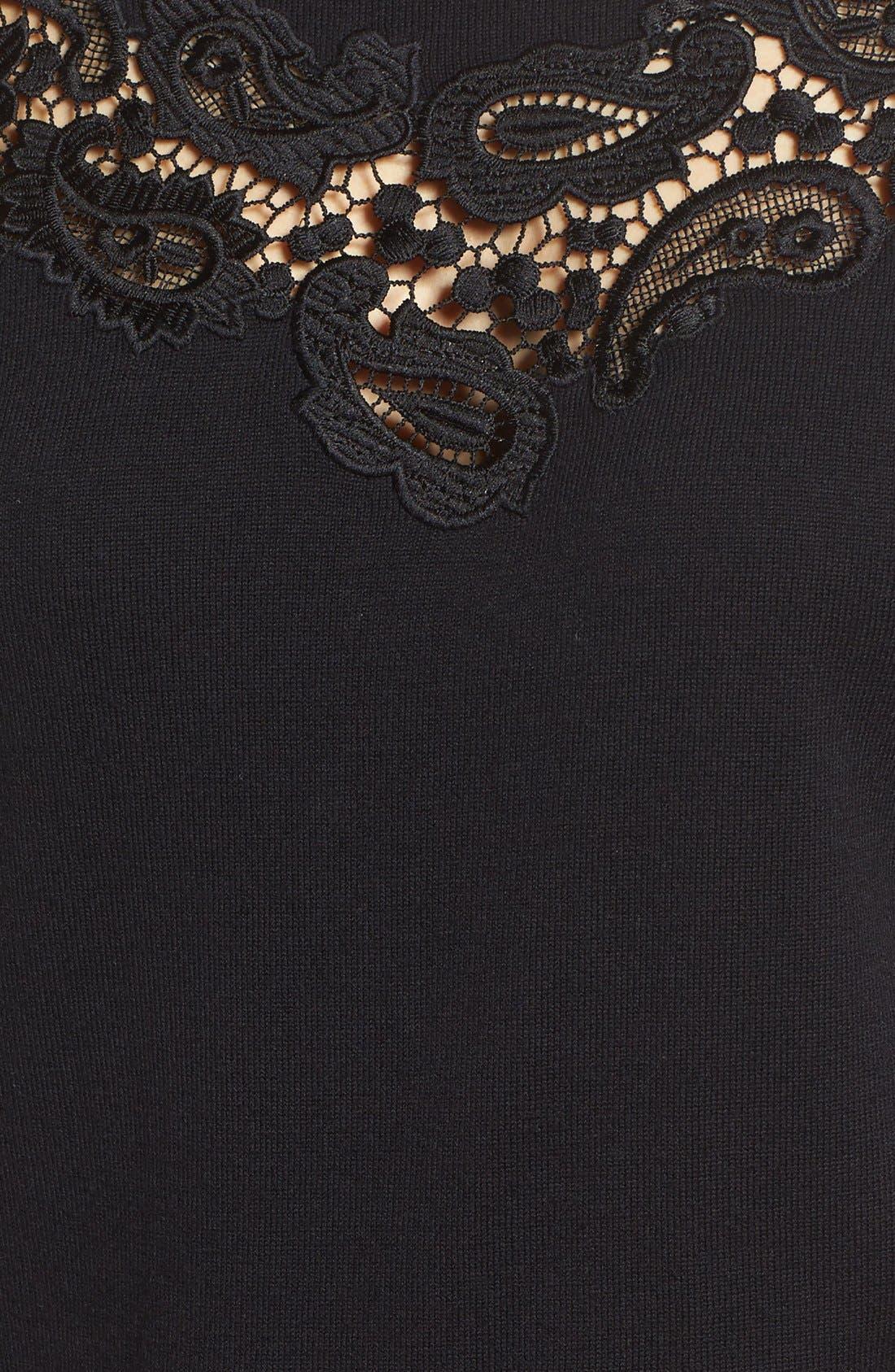 Alternate Image 5  - Halogen® Lace Inset Sweater (Regular & Petite)