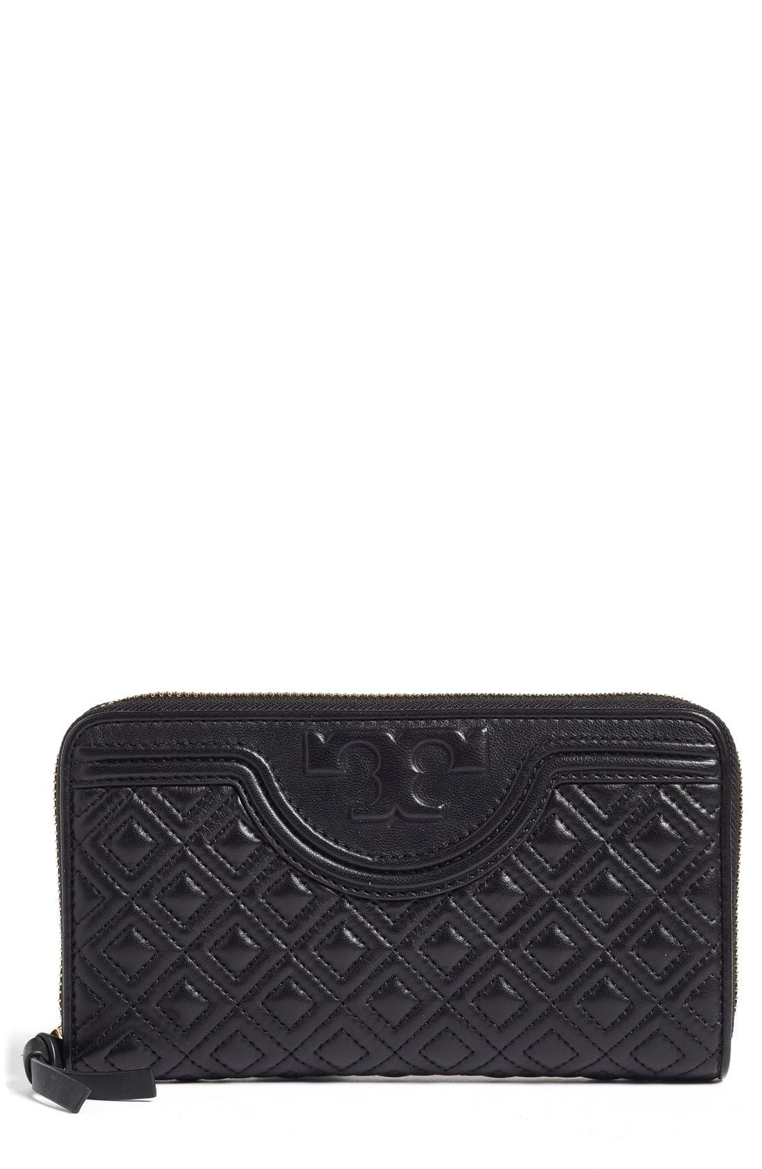 Main Image - Tory Burch 'Fleming' Quilted Lambskin Leather Continental Wallet
