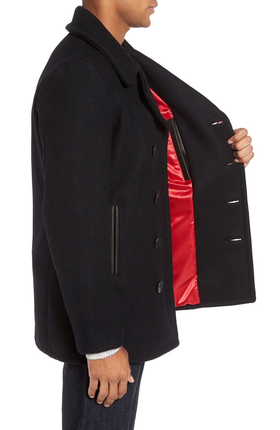 Embroidered Wool Blend Peacoat,                             Alternate thumbnail 3, color,                             Navy
