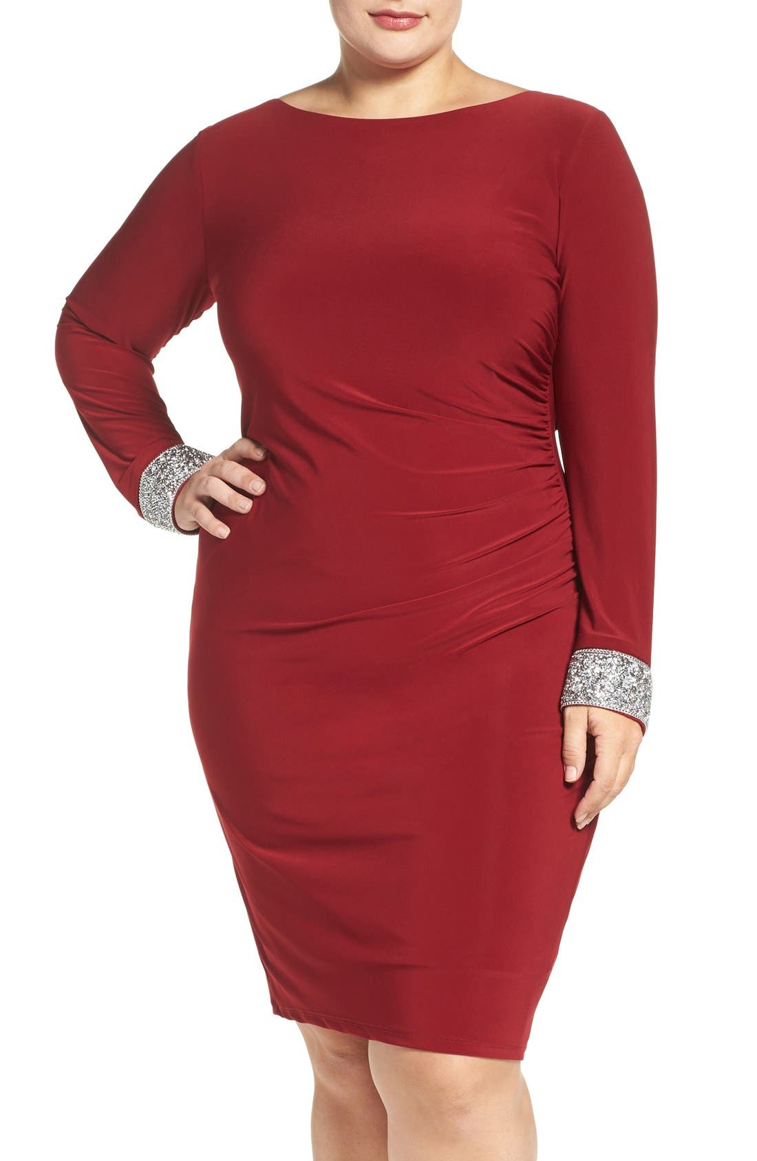 Main Image - Marina Embellished Drape Back Jersey Cocktail Dress (Plus Size)