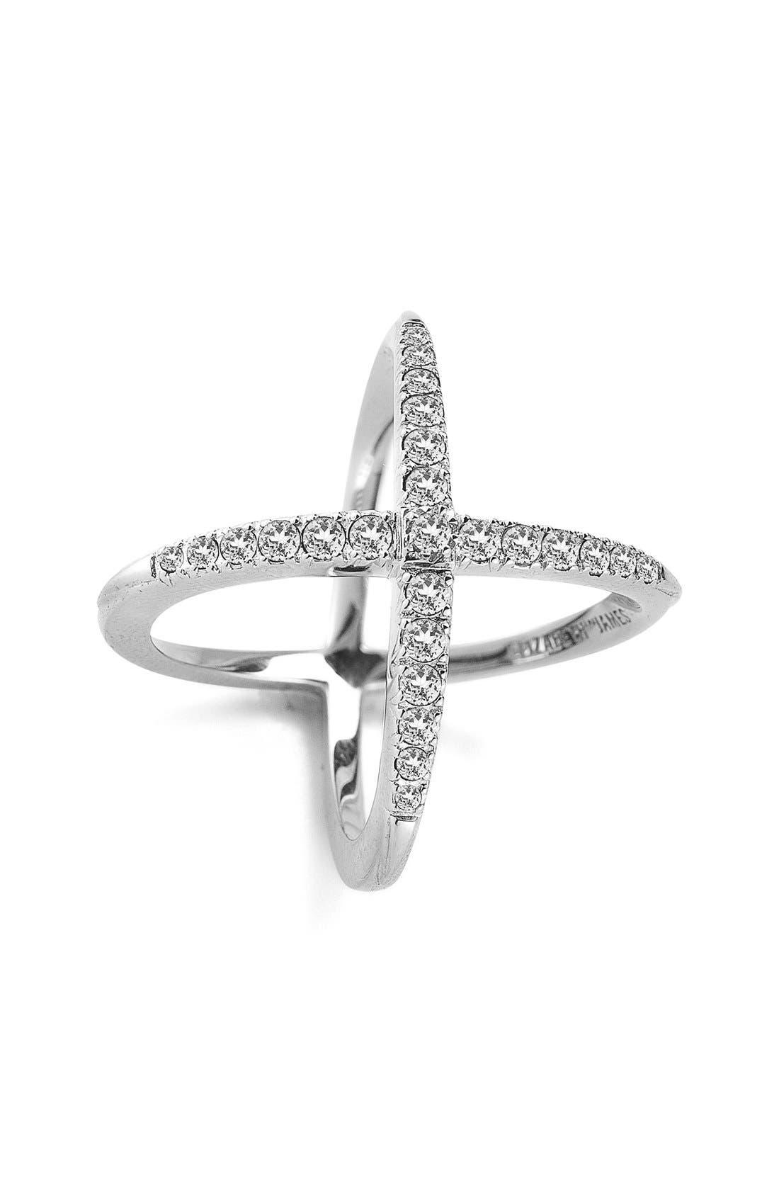 'Windrose' Pavé White Topaz Ring,                             Main thumbnail 1, color,                             White Topaz/ Silver