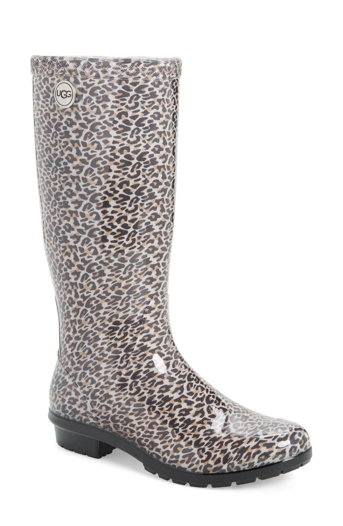 Shaye Rain Boot,                         Main,                         color, Black Leopard