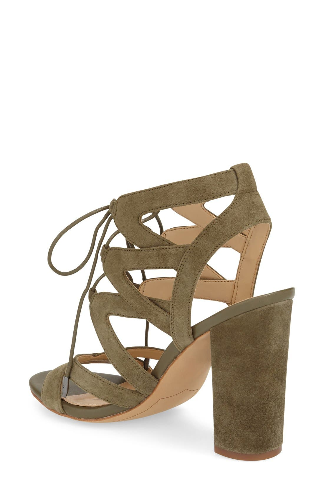 'Yardley' Lace-Up Sandal,                             Alternate thumbnail 3, color,                             Moss Green Suede Leather