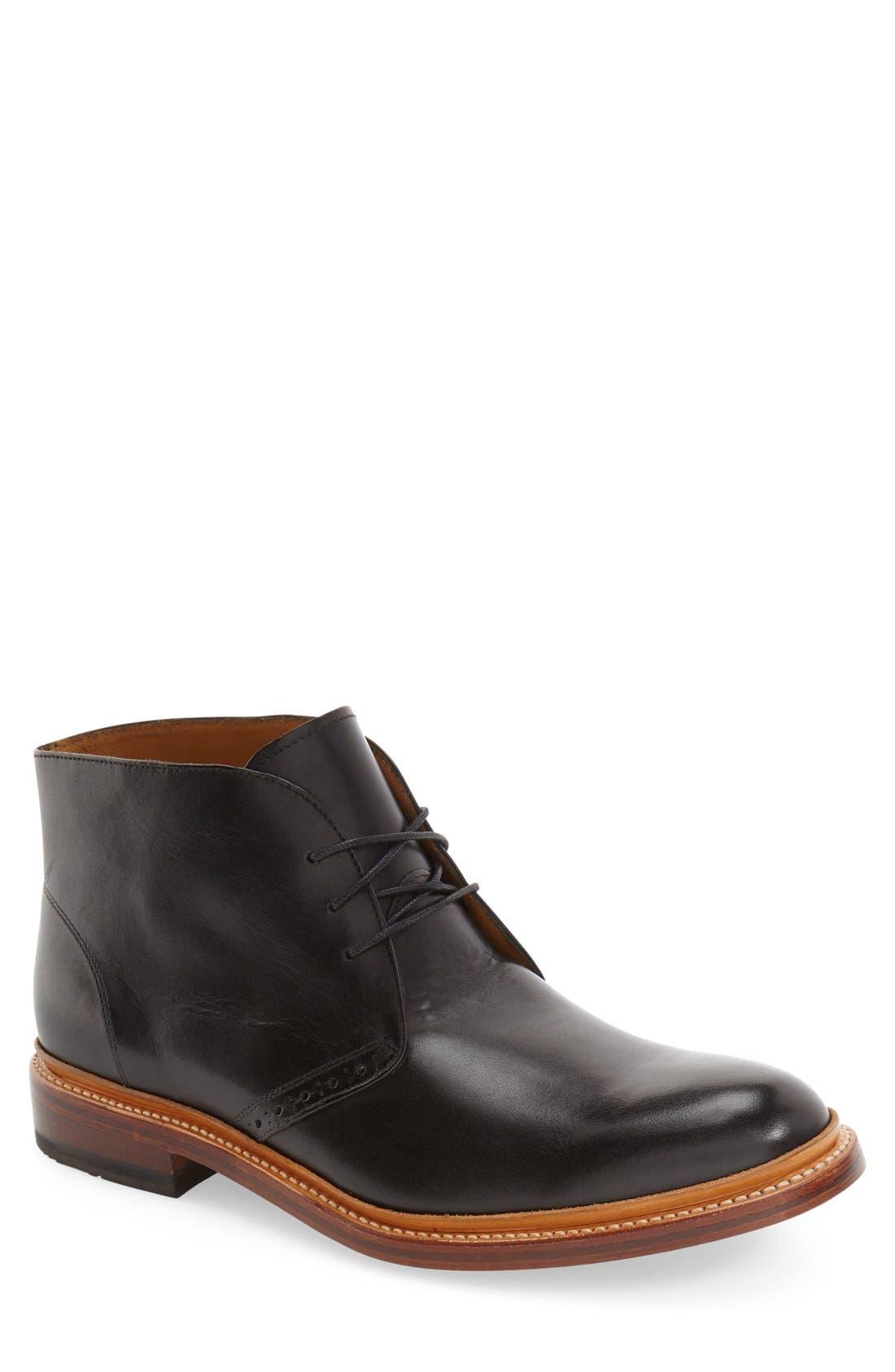 'Madison II' Chukka Boot,                             Main thumbnail 1, color,                             Black Smooth Leather