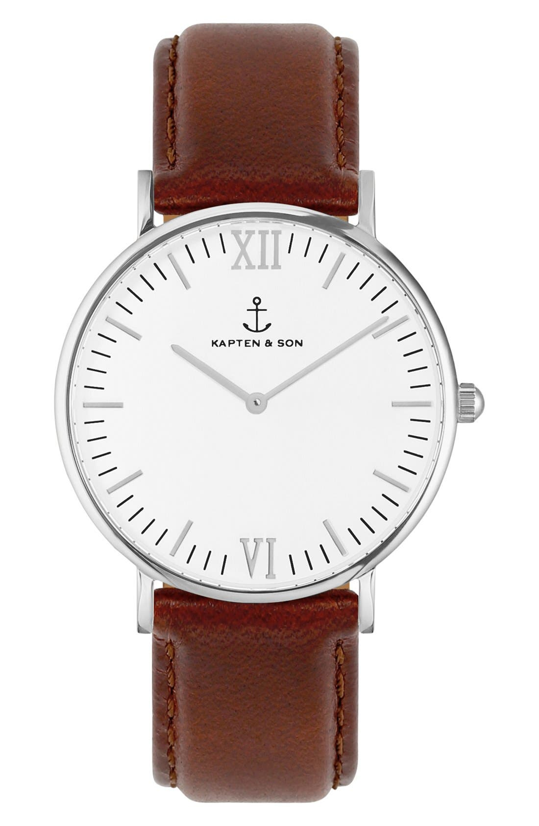 Campus Leather Strap Watch, 40mm,                         Main,                         color, Brown/ White/ Silver