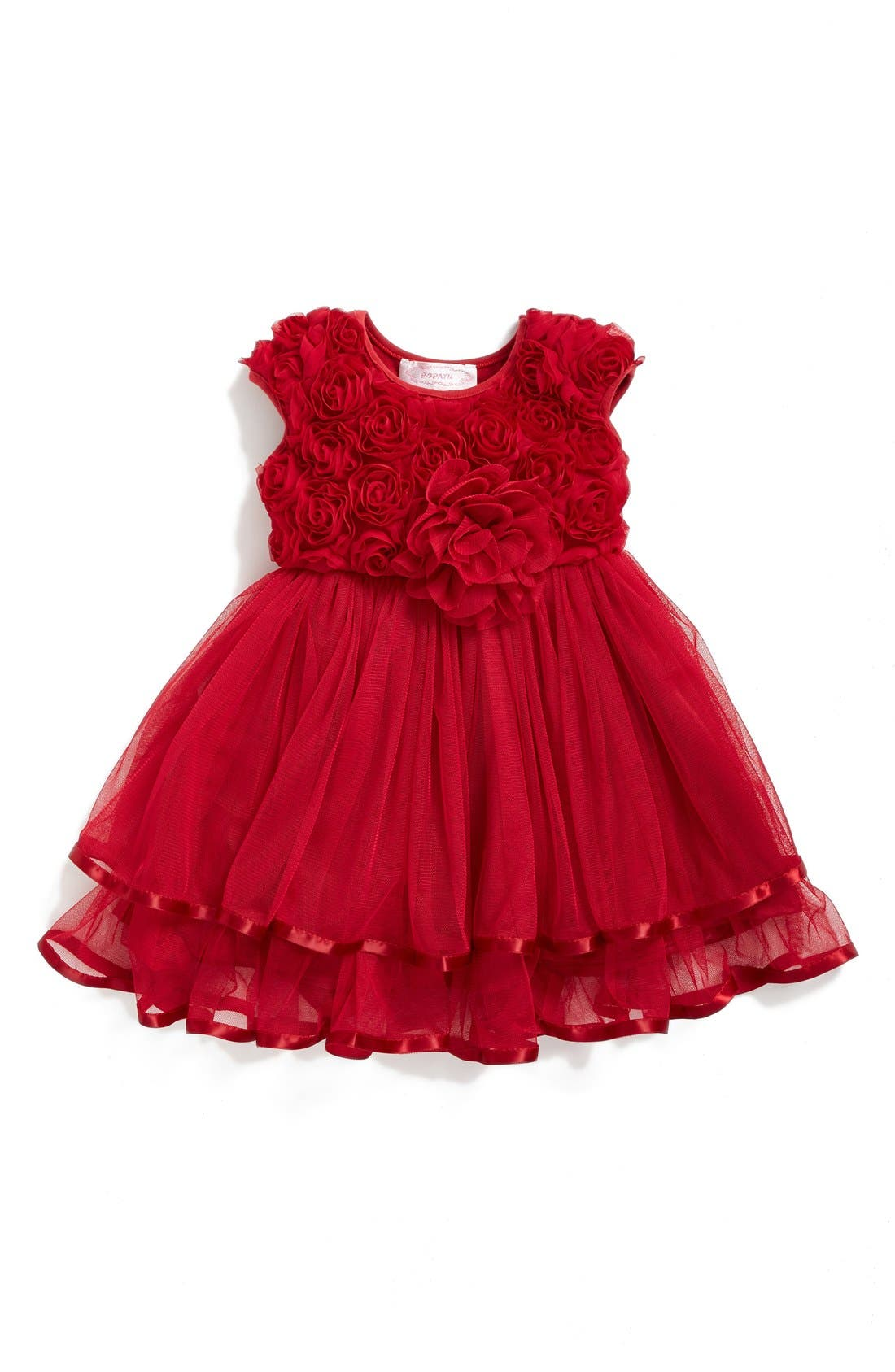 Rosette Tulle Dress,                             Main thumbnail 1, color,                             Red